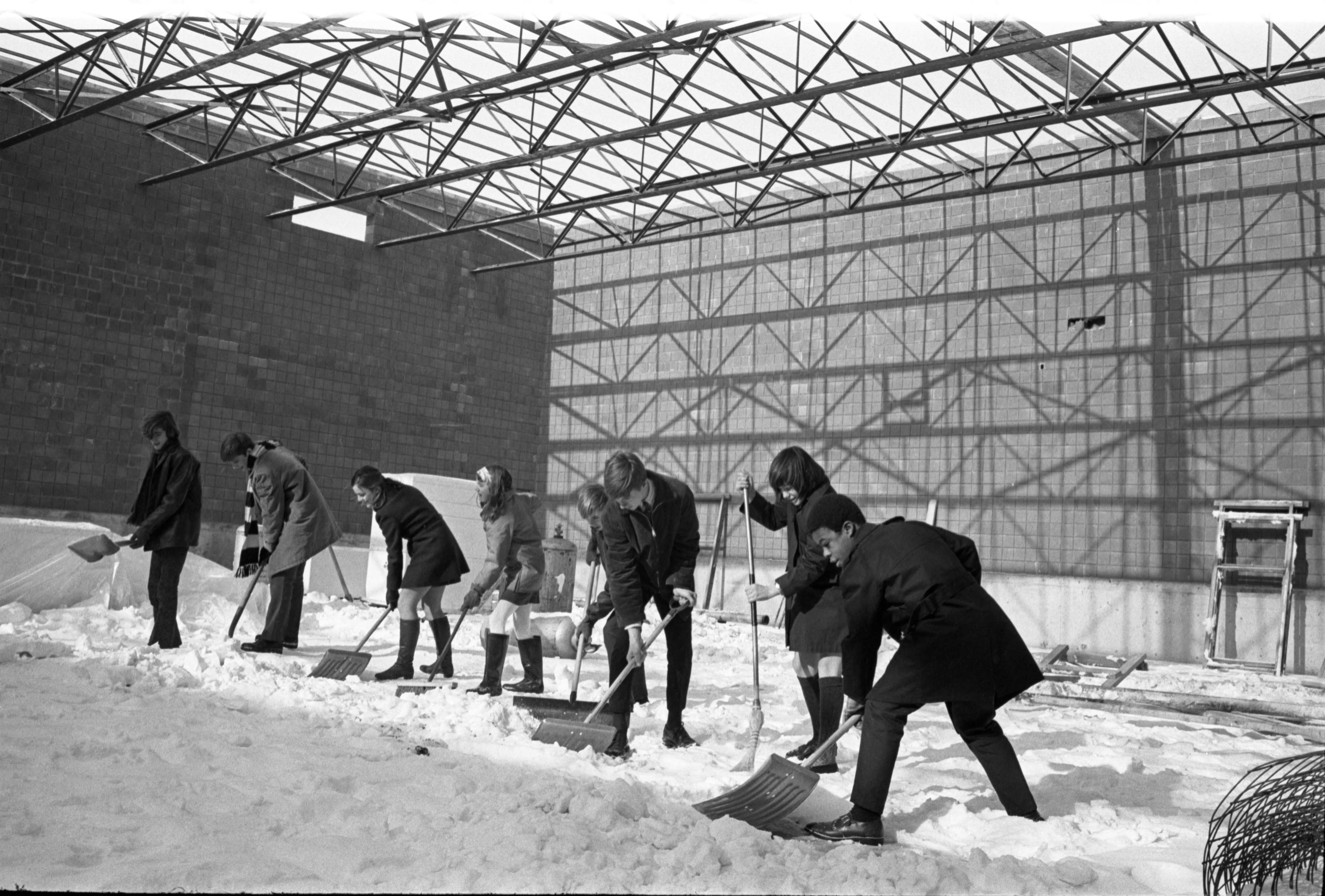 Greenhills Students Shovel Snow At School, January 11, 1970 image