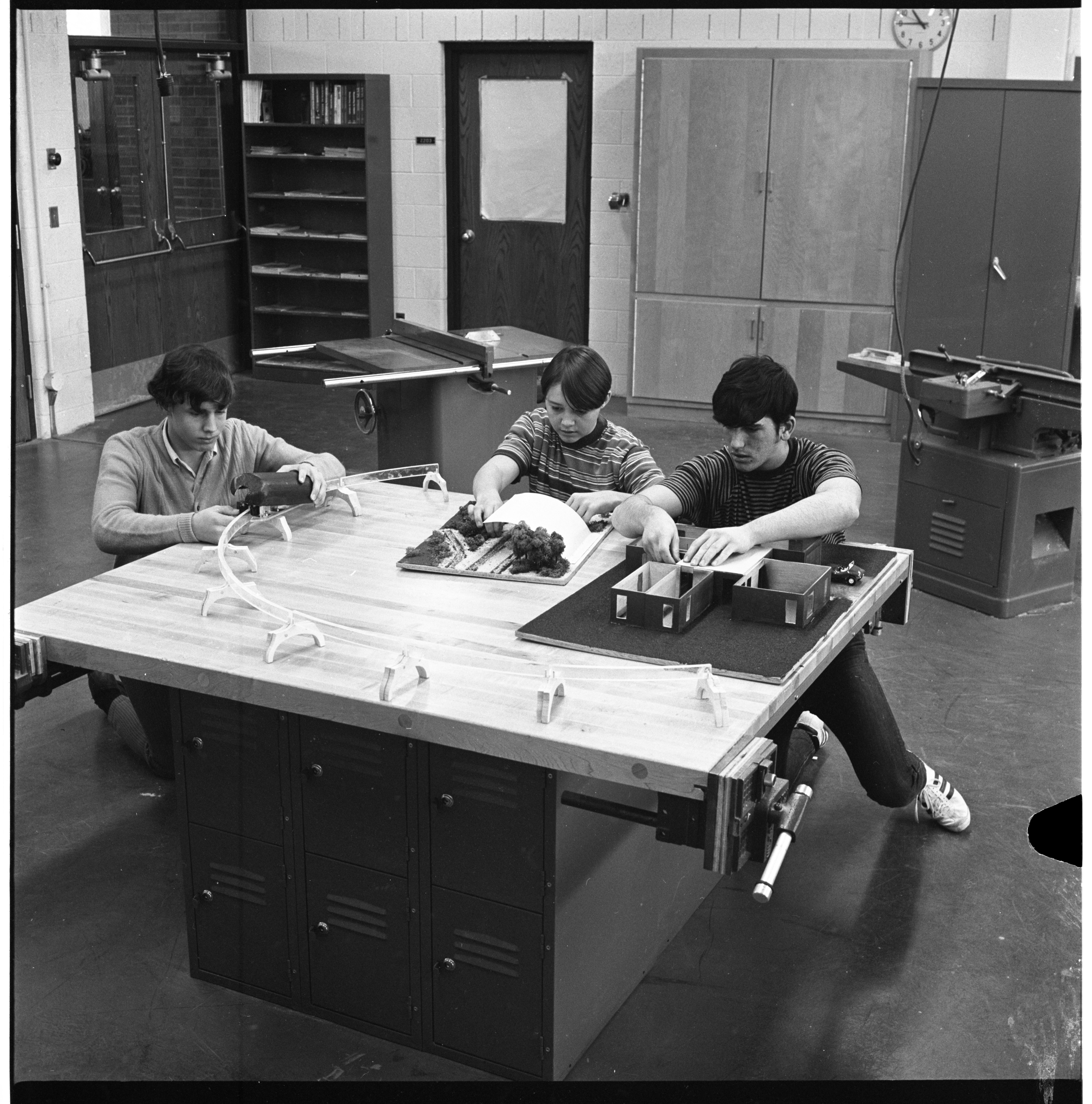 Kurt Ford, Mark McClean, & Donn Raley In Huron High School's Industrial Processes Class, January 1970 image