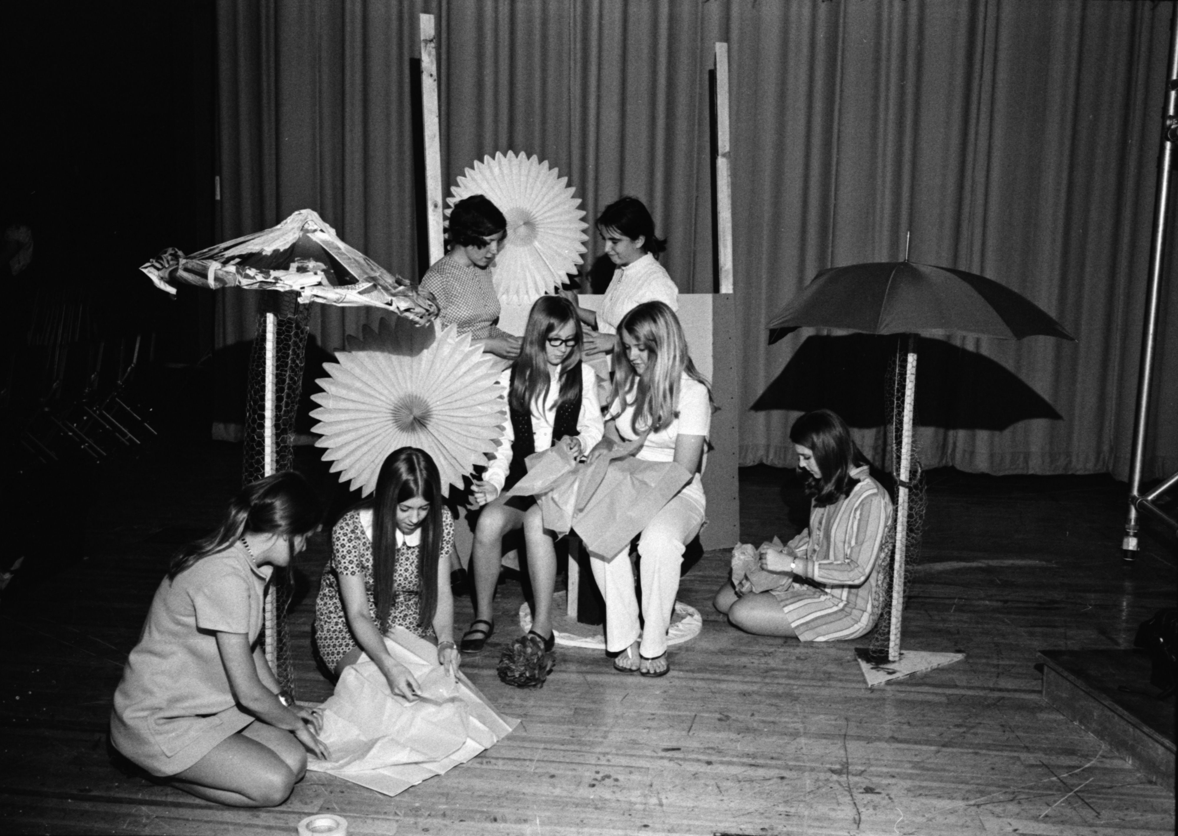 A Group of Students Work on Prom Decorations, May 1971 image