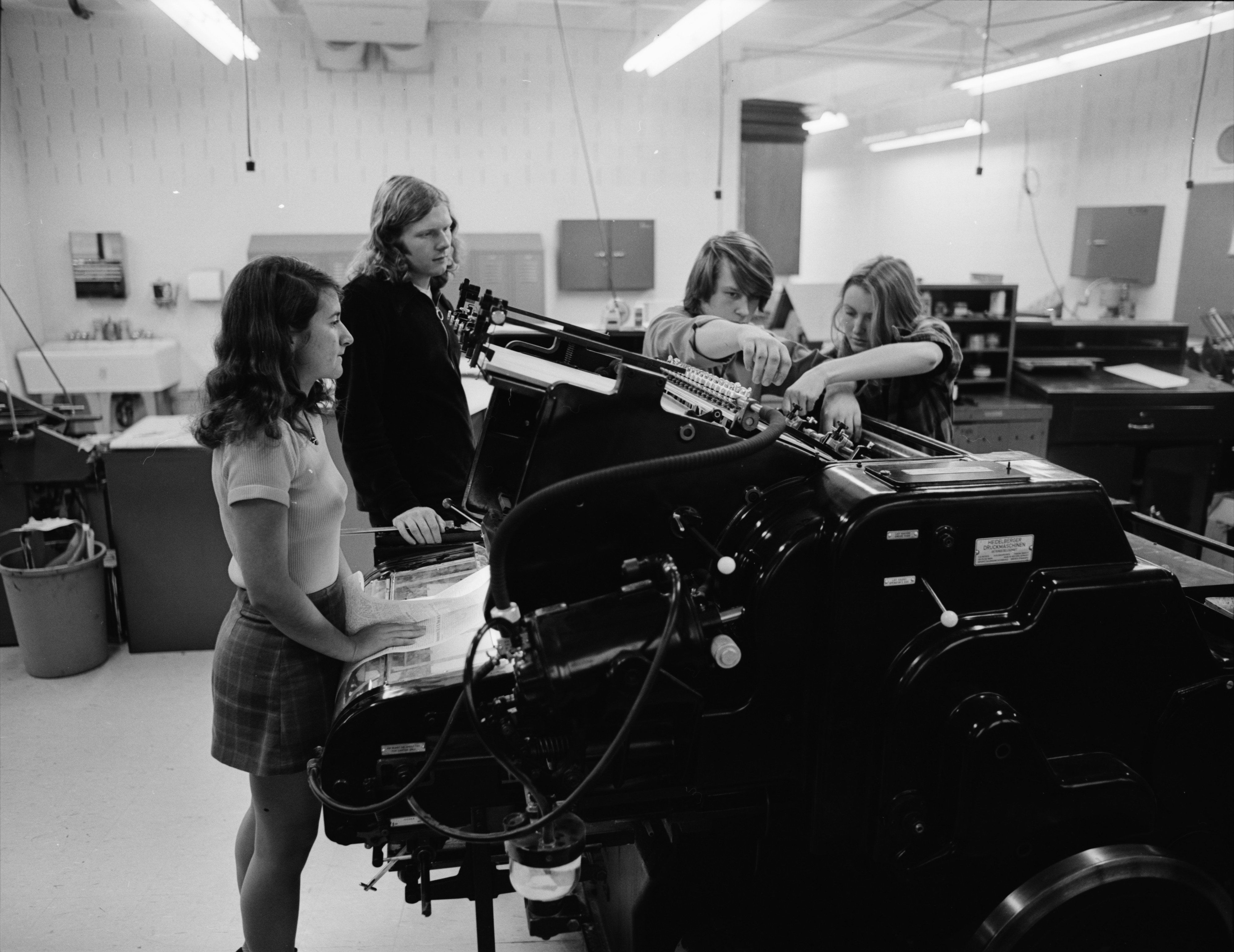 Students Preparing the Press for Printing in Publications Production Class at Huron High School, December 1971 image