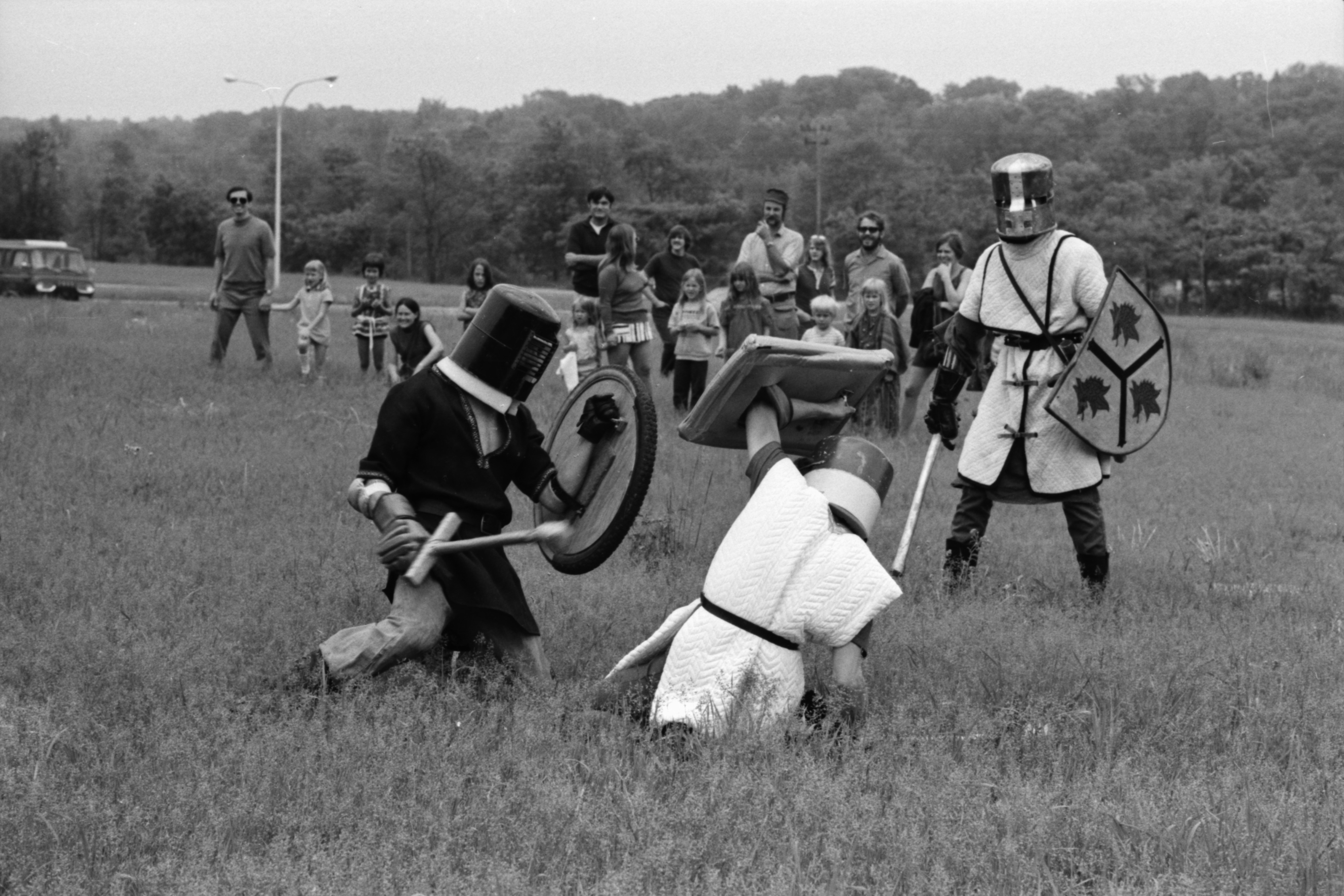 Sword Fight at Medieval Festival at Huron High School, June 1972 image