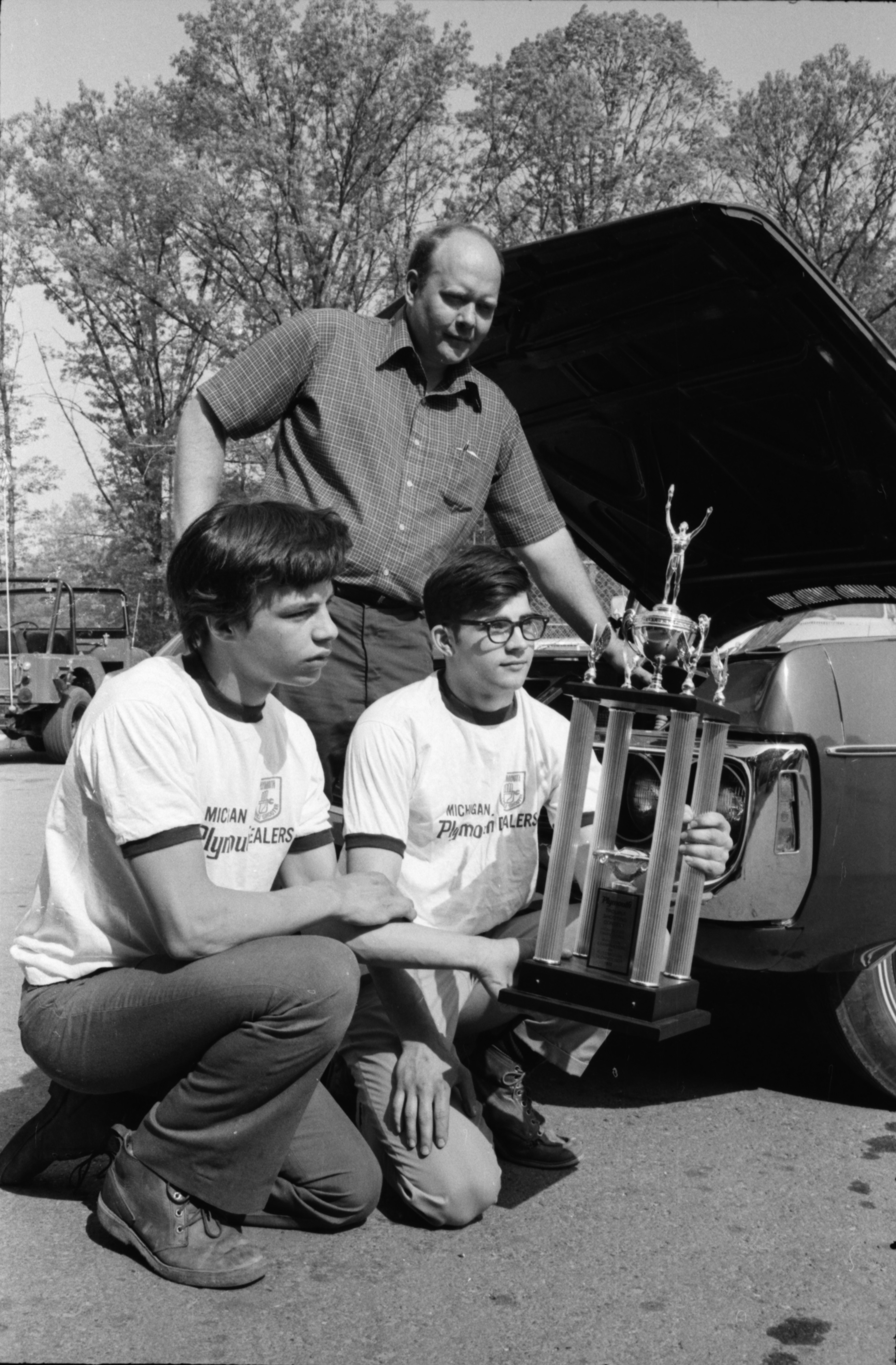 Two Students Receive Trophy for Top Mechanics at Huron High School, June 1972 image