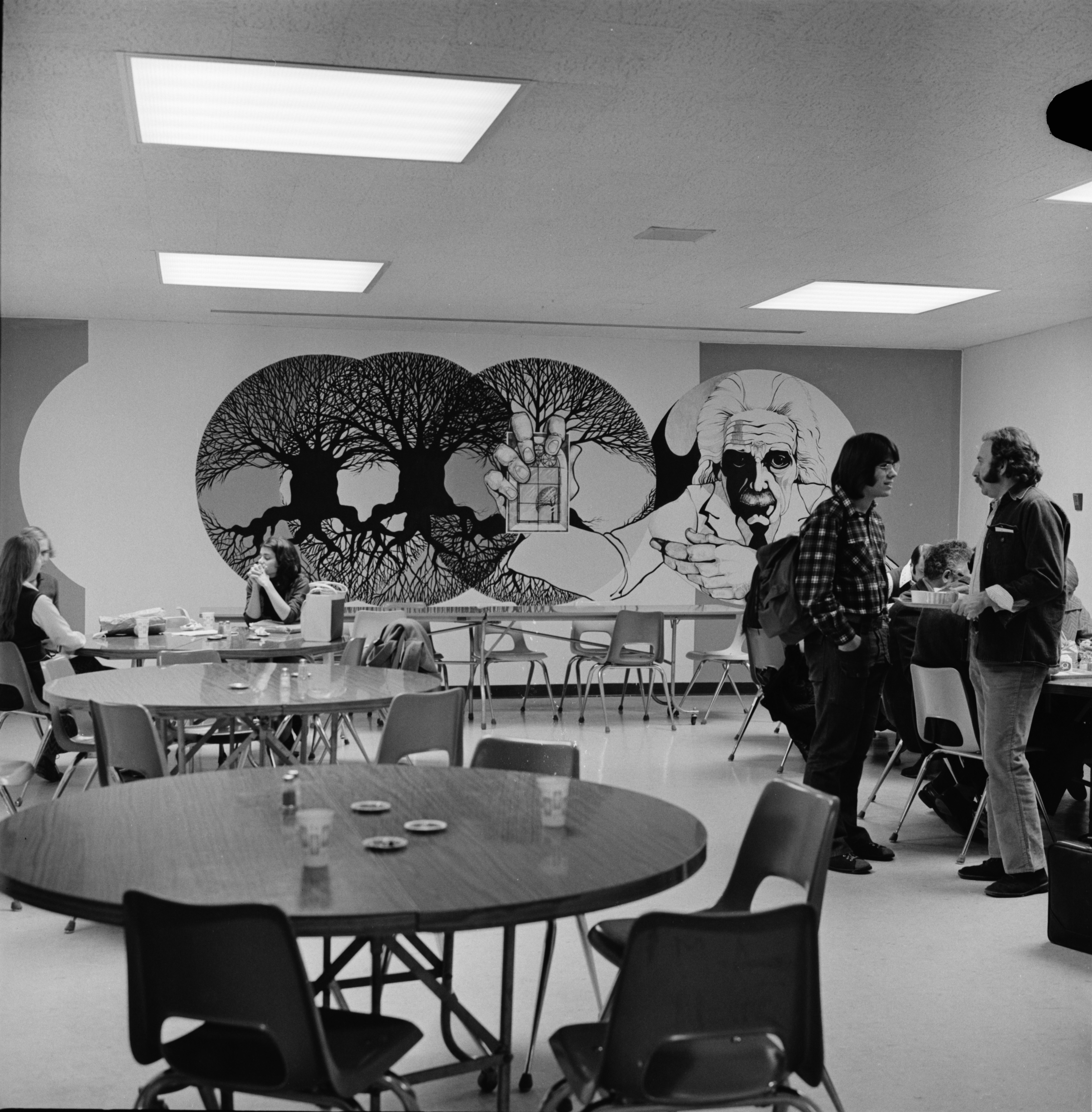 Teachers Lounge Lunchroom at Huron High Gets a New Mural, November 1972 image