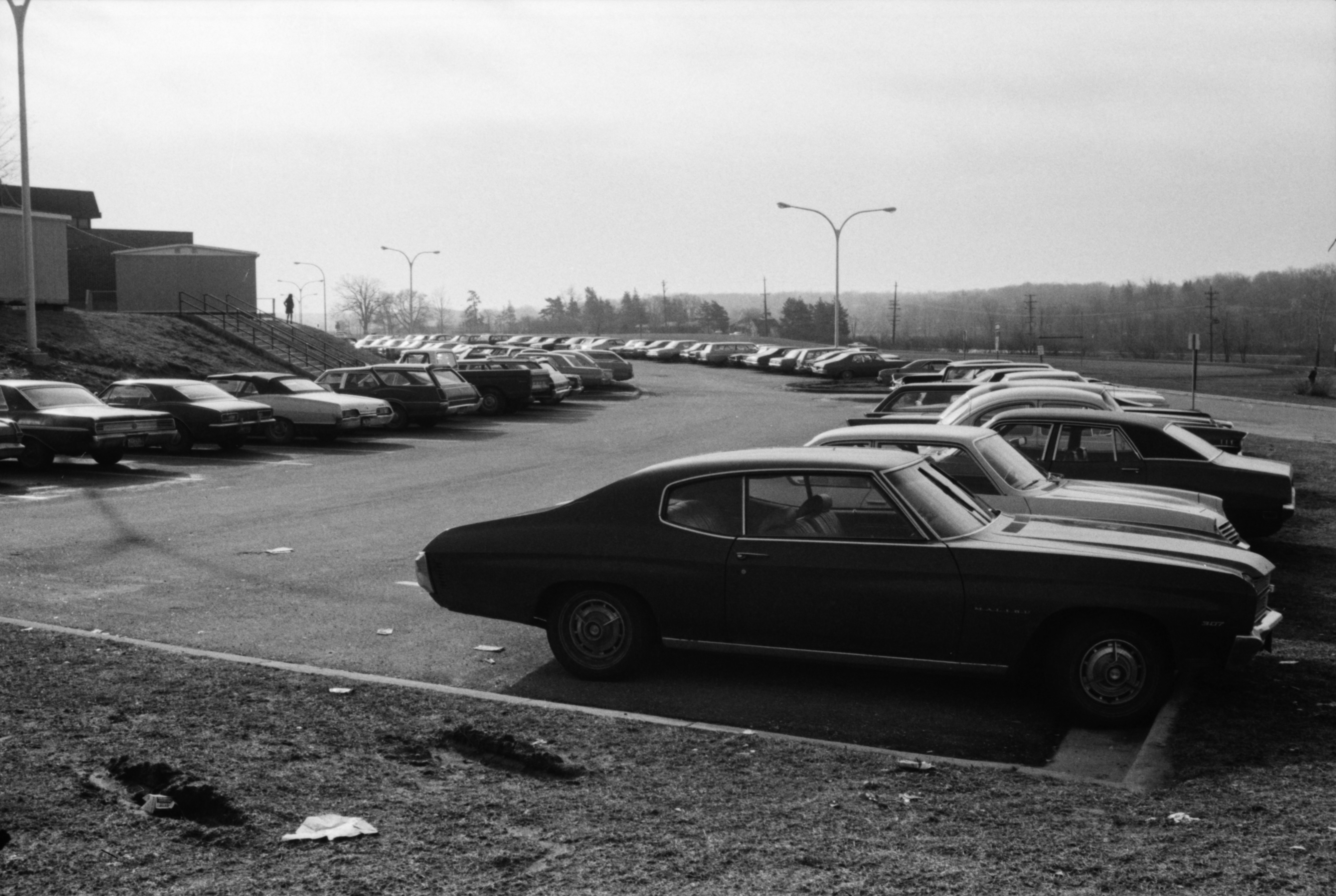 Full Parking Lot at Huron High, March 1974 image
