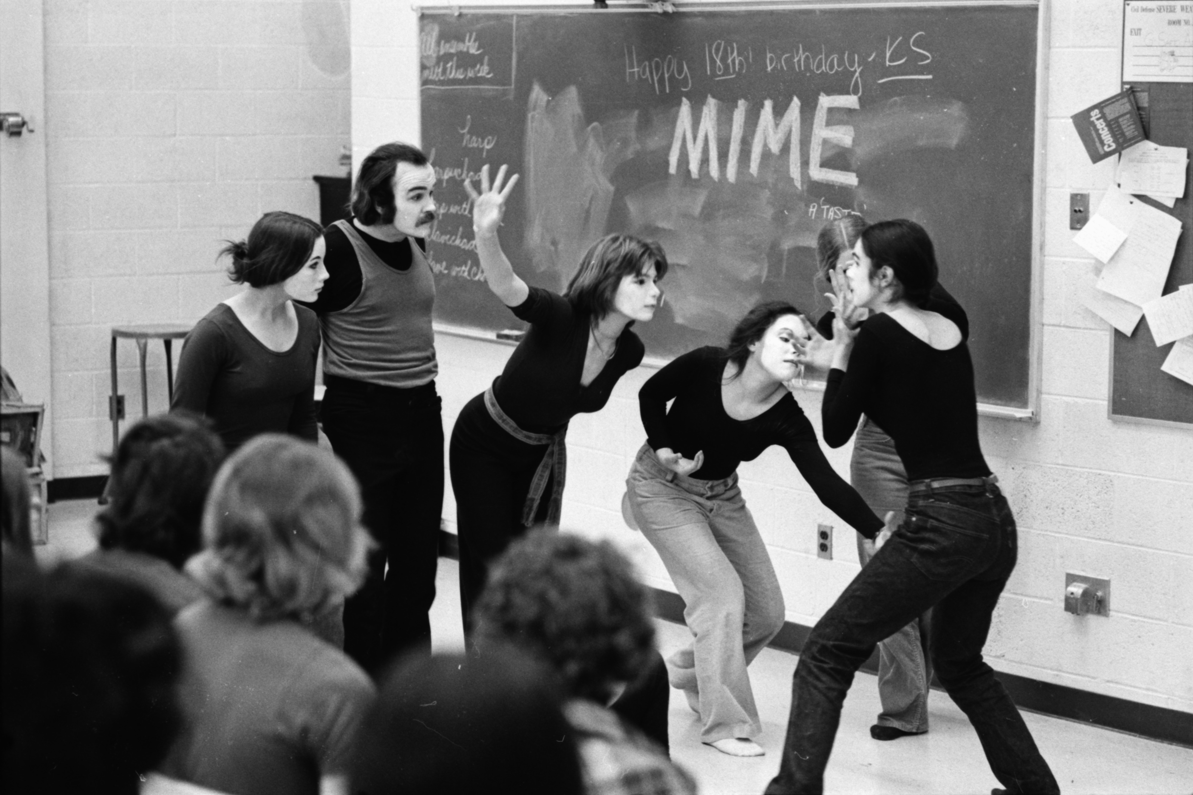 Mime Workshop at Third Annual Creative Arts Festival at Huron High School, March 1974 image