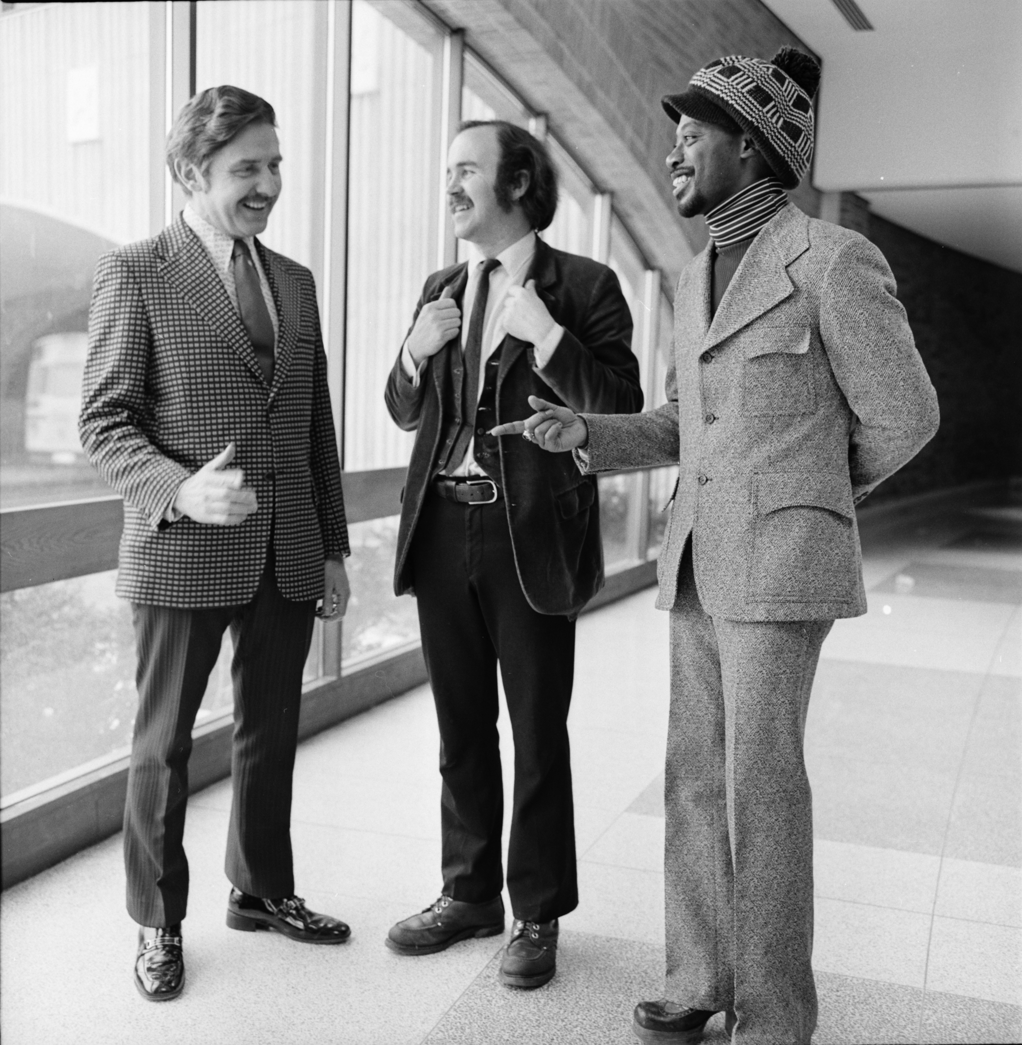 Portrait of South Lyon Major Andrew T. Rajkovich with Desmond P. Ryan and Willie Brown Jr. at Huron High, March 1974 image