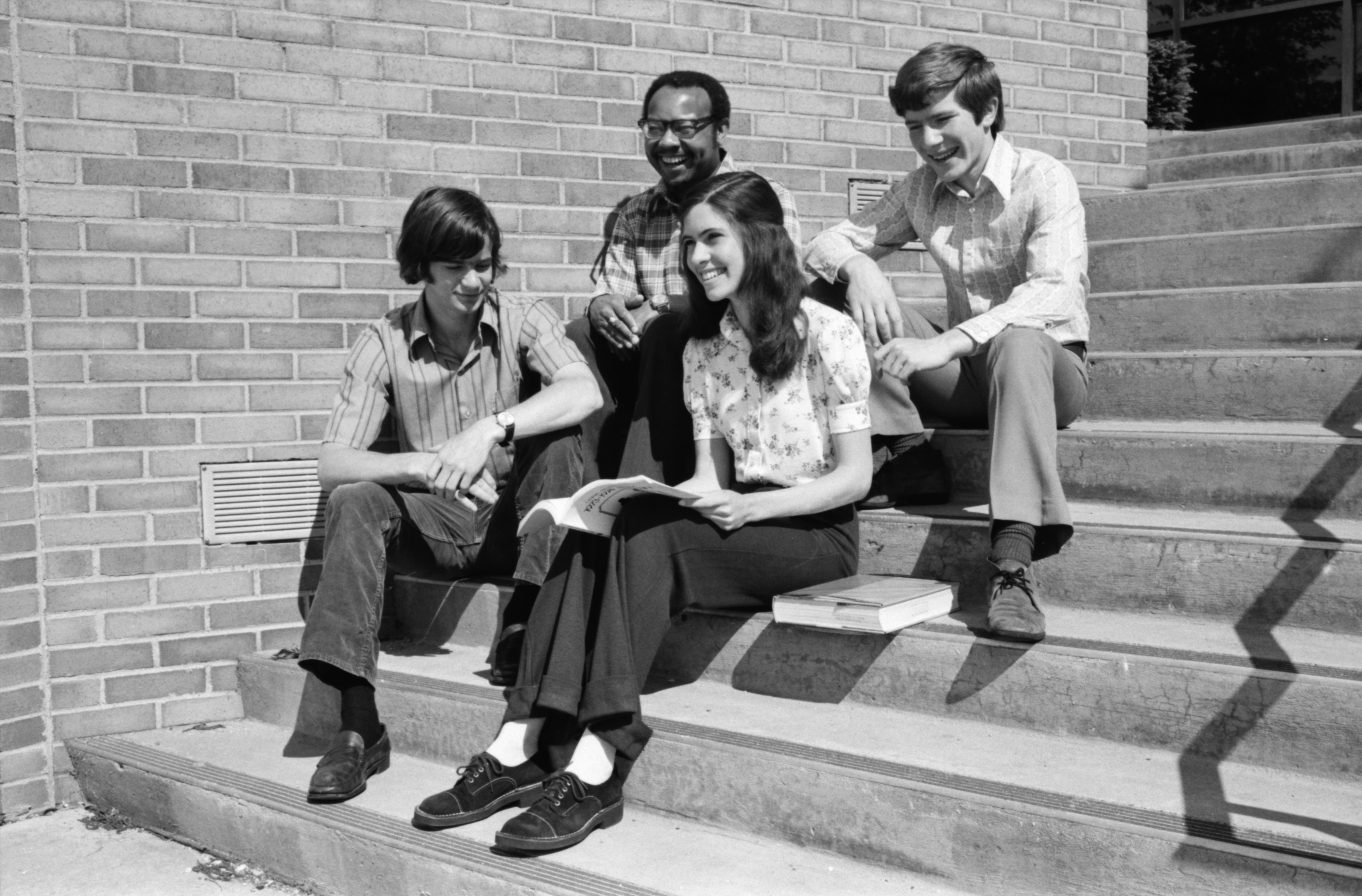Three All-A Students Pose with Huron High Principal, June 1974 image