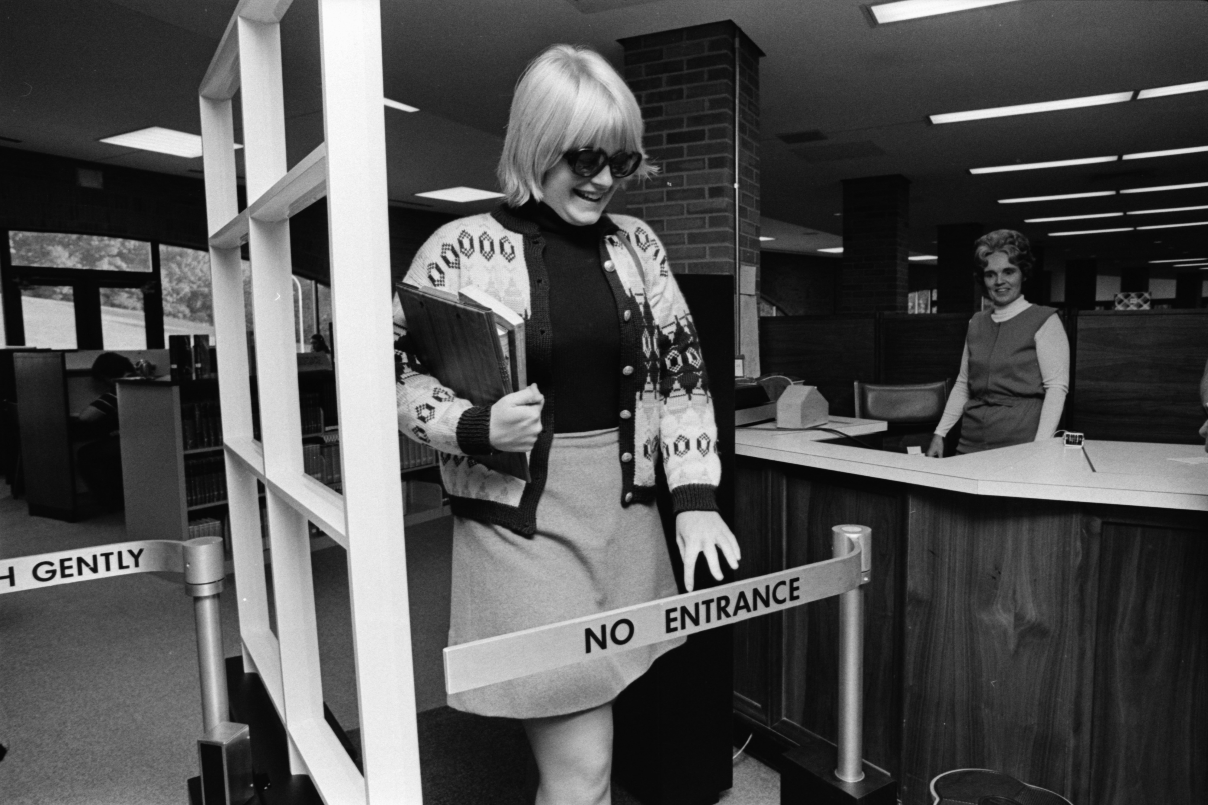 New Sensor-Operated Buzzer Alarm in the Huron High School Library, September 1974 image