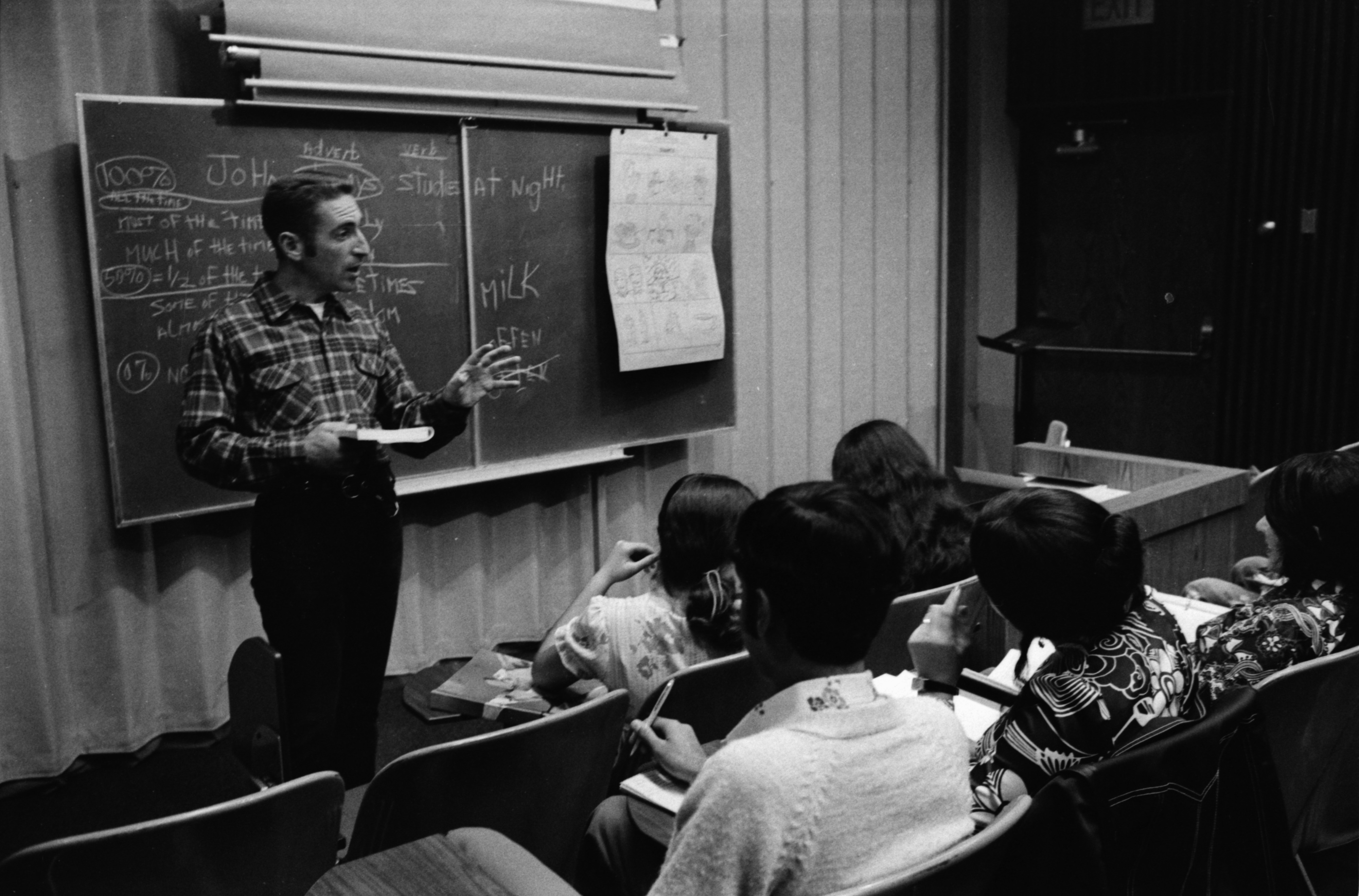 Teacher Kent Overbey Teaches English as a Foreign Language at Huron High School, October 1974 image
