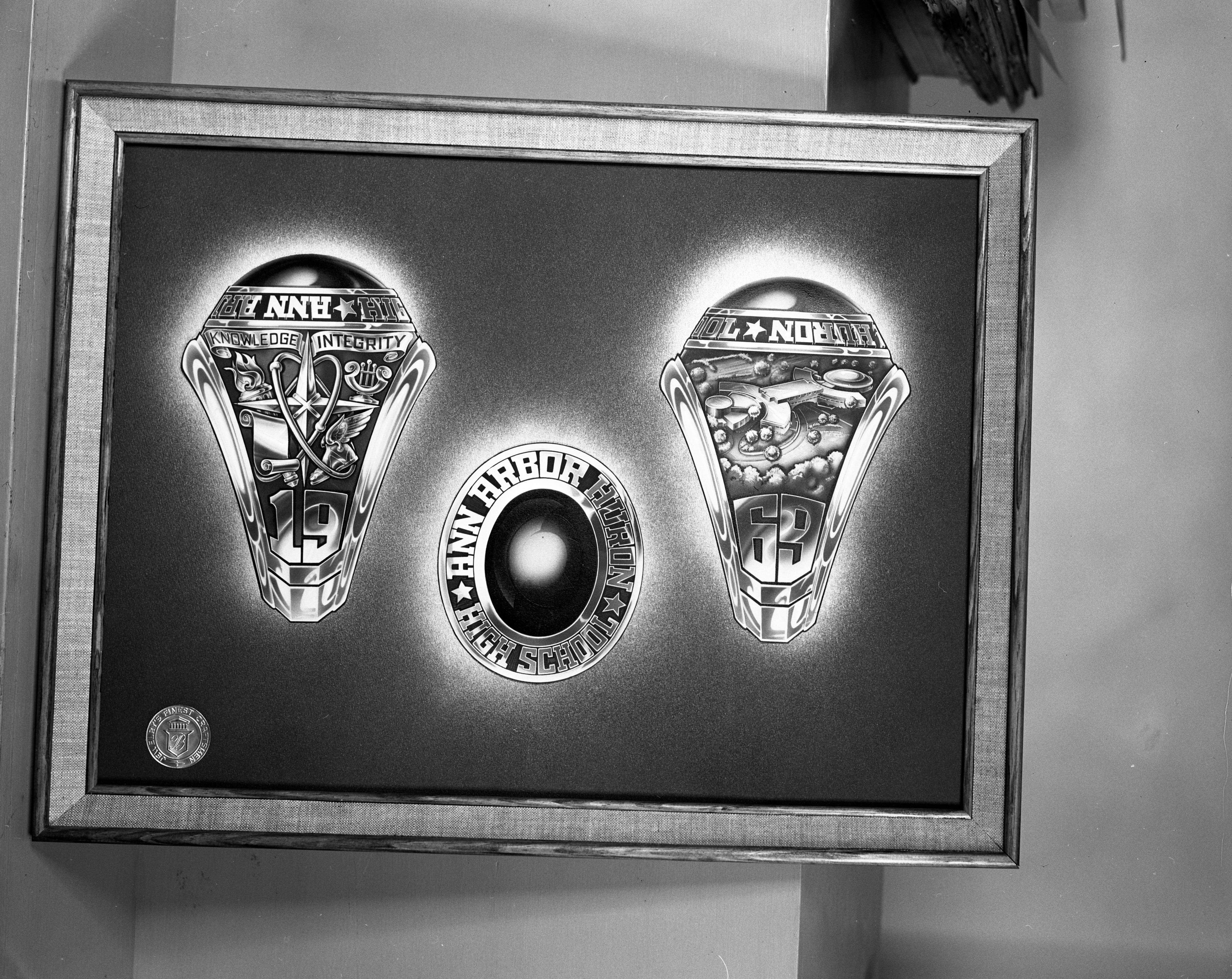 Designs for Ann Arbor Huron High School 1969 class ring, August 1967 image