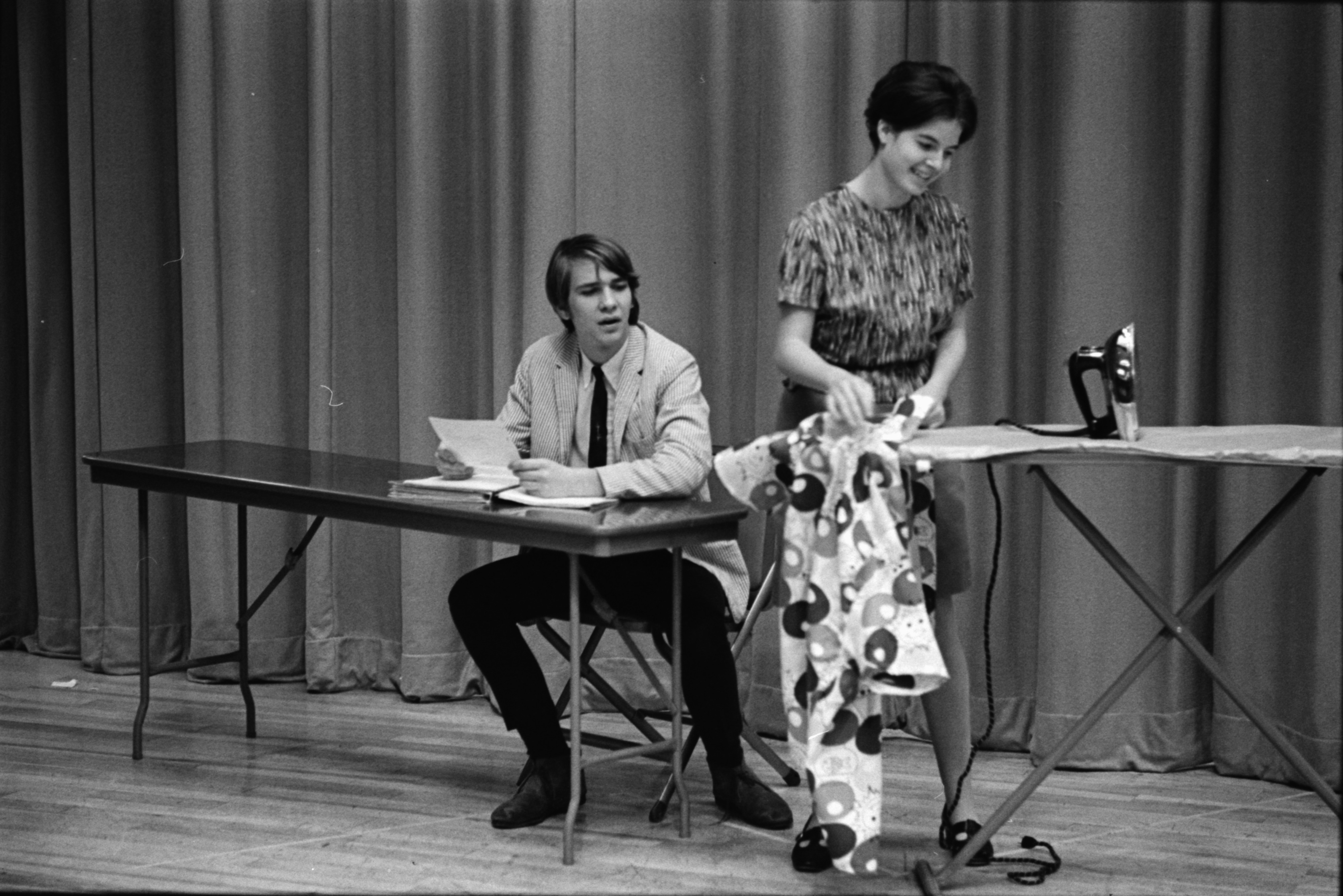 "Huron High Students Richard Strand and Barbara Quenon Perform in ""Don't Drink The Water,"" November 1970 image"