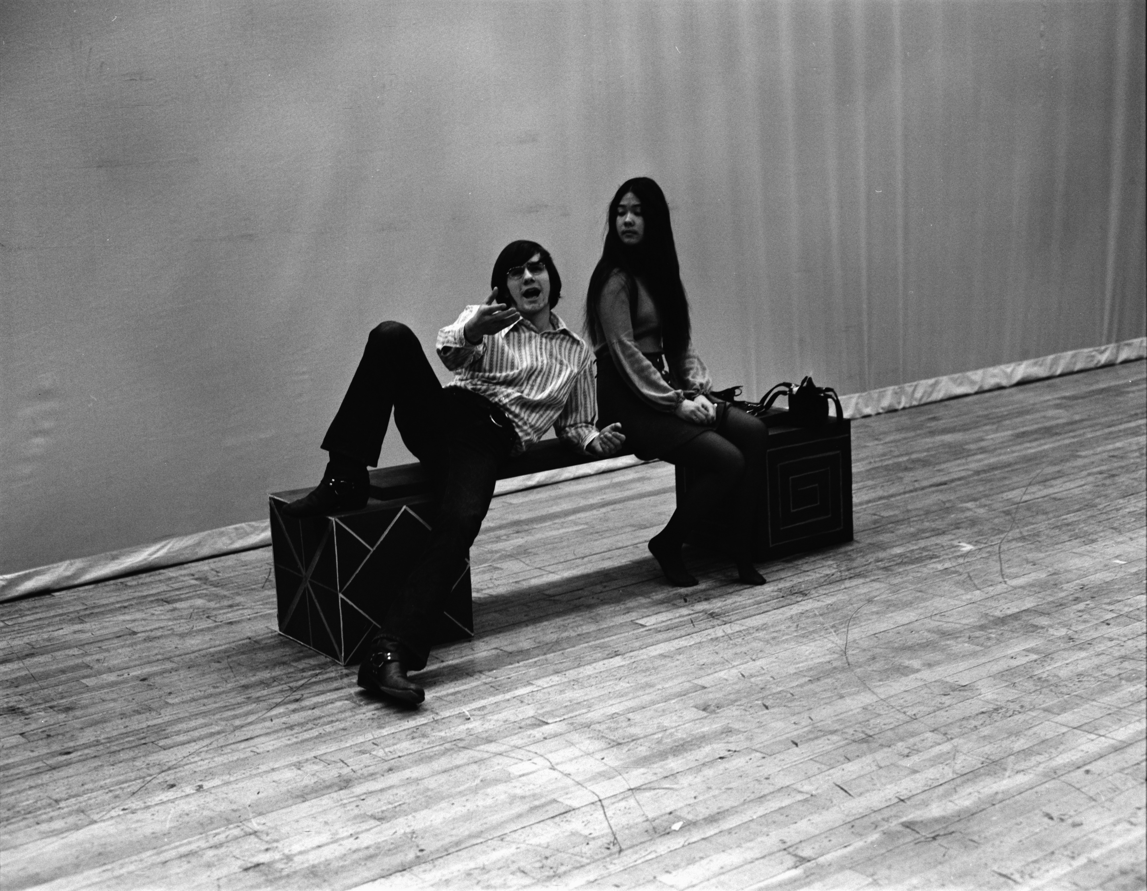 "Mike Kramer and Laura Baler Rehearse ""Feiffer's People"" for Huron High School Theater Guild, March 1972 image"