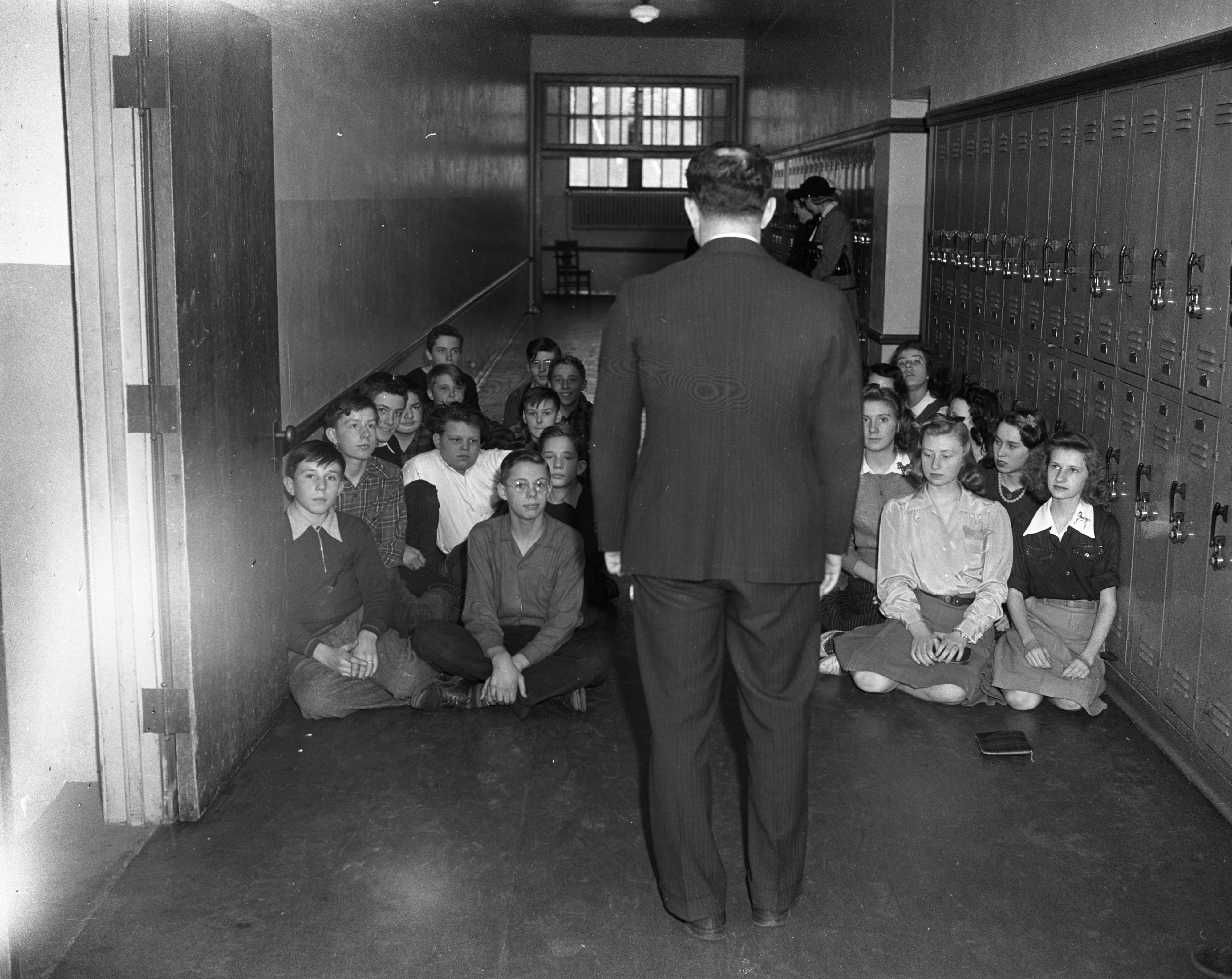 Air Raid Drill at Tappan School, February 1942 image