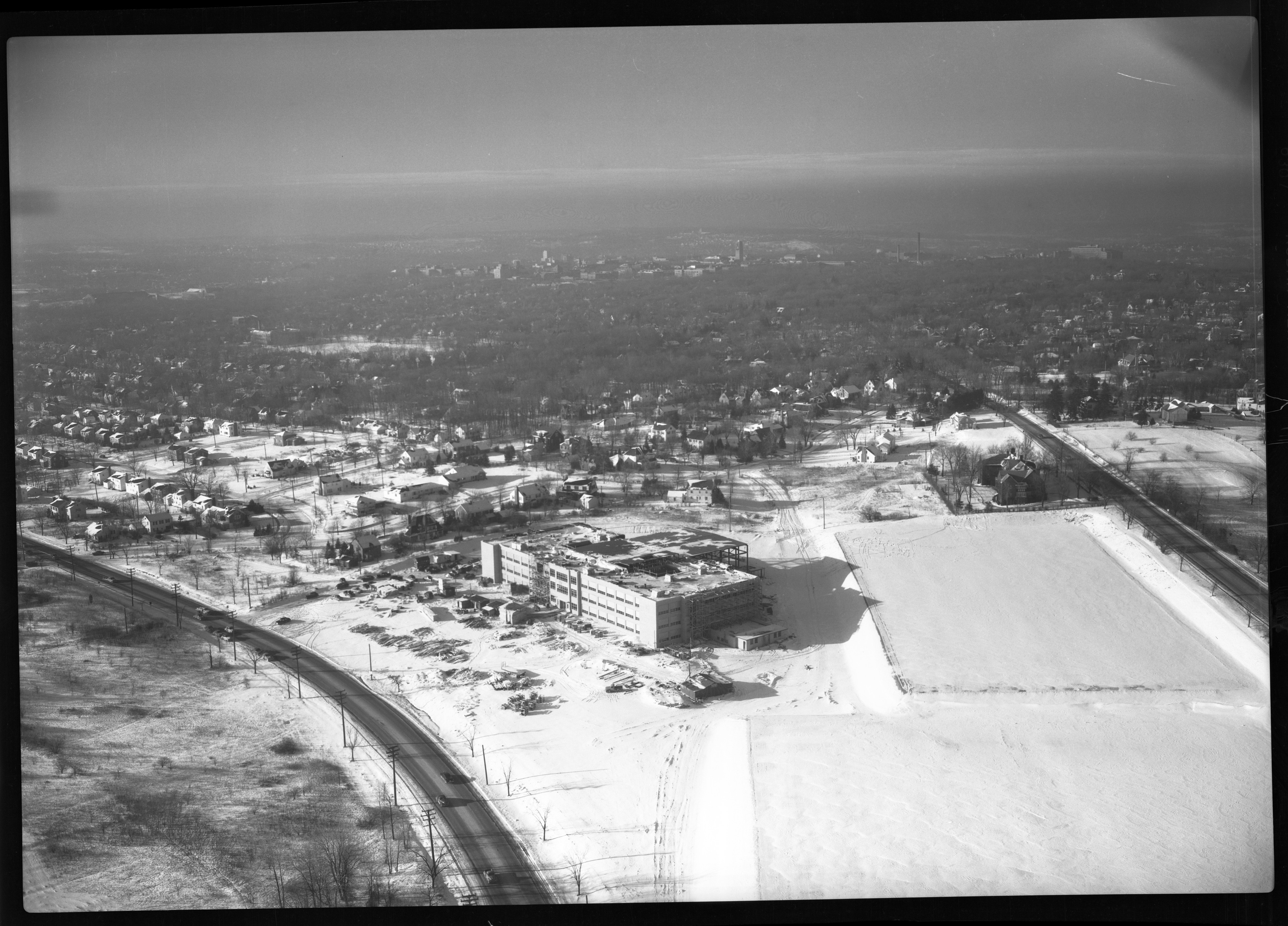 Aerial View of New Tappan Junior High School, Washtenaw Ave and M-17, December 1950 image