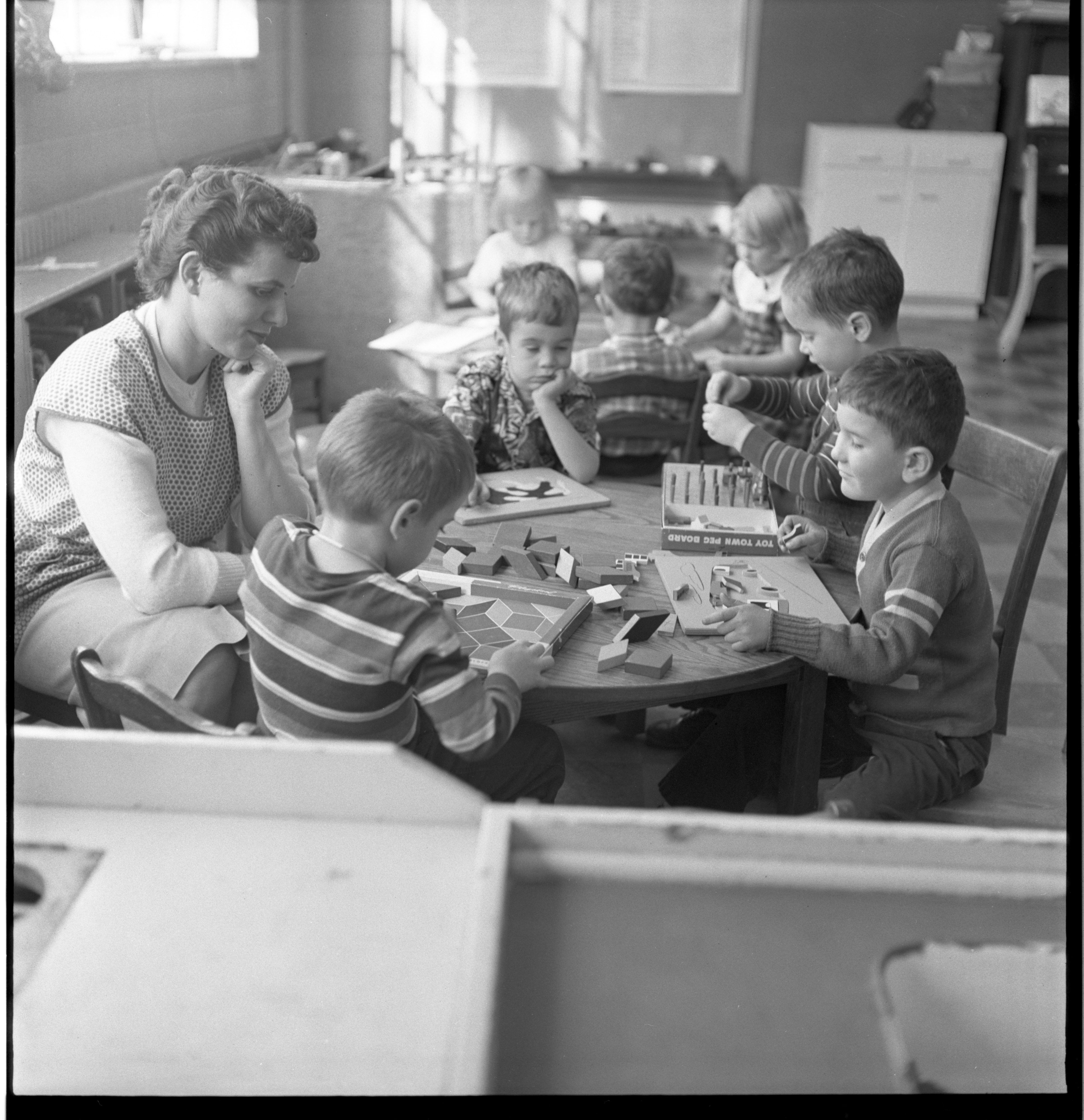Children Enjoy Free Time At The Ann Arbor Co-Operative Nursery School, January 1955 image
