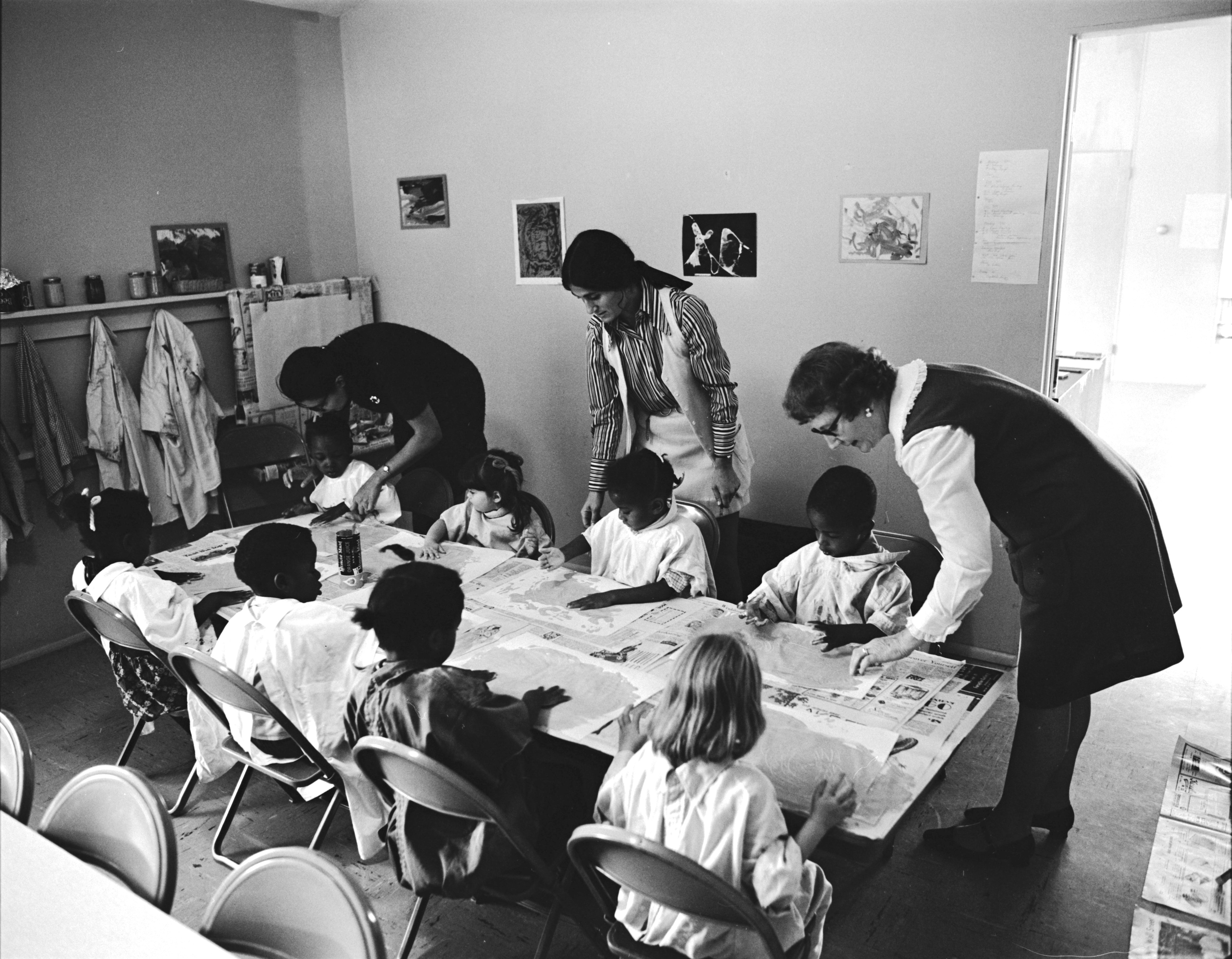 Finger Painting at Peace Neighborhood Center, October 1971 image