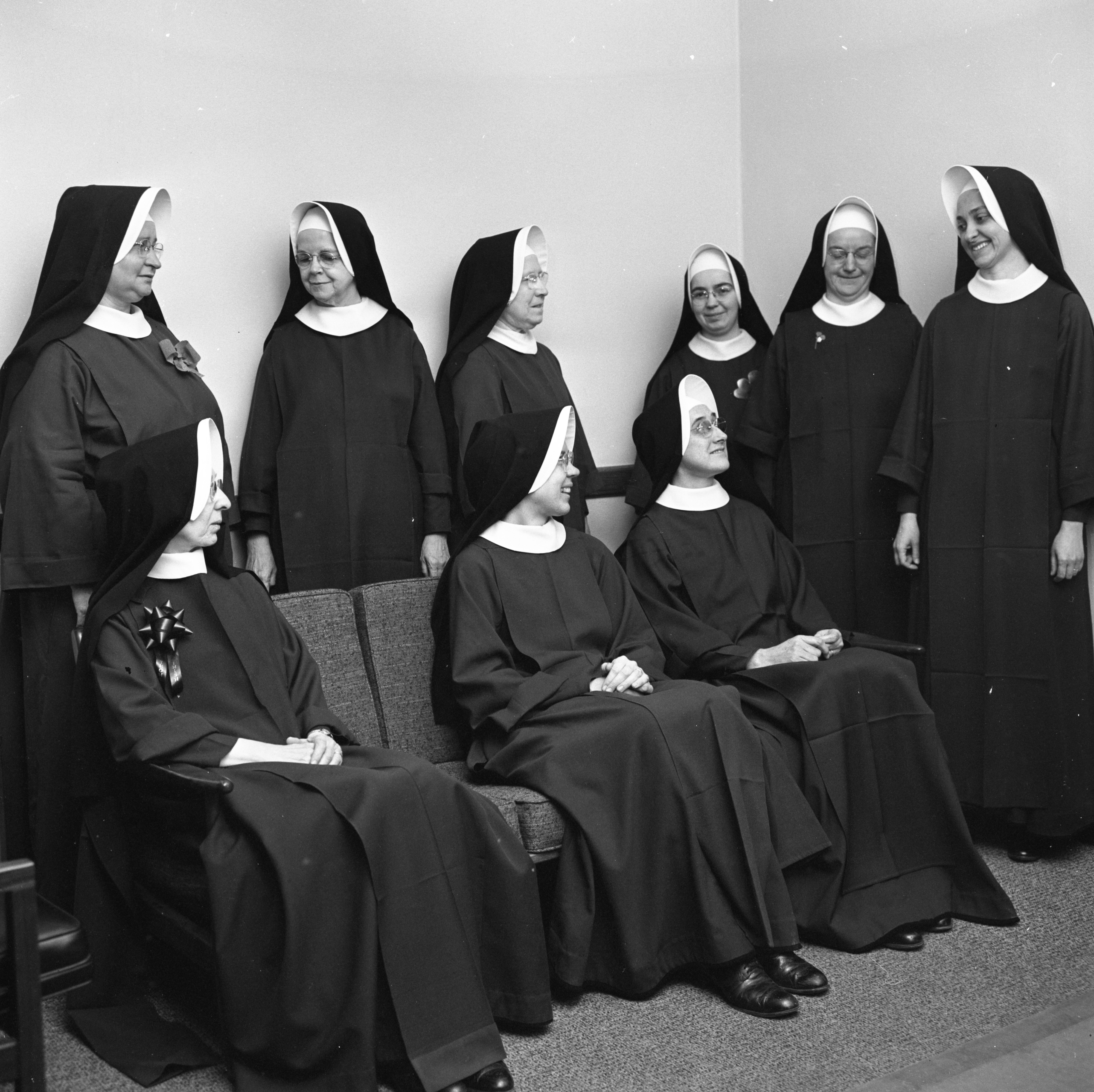 Nuns Of Irish Descent Wear Green Accessories On St. Patrick's Day At St. Thomas School, March 1967 image