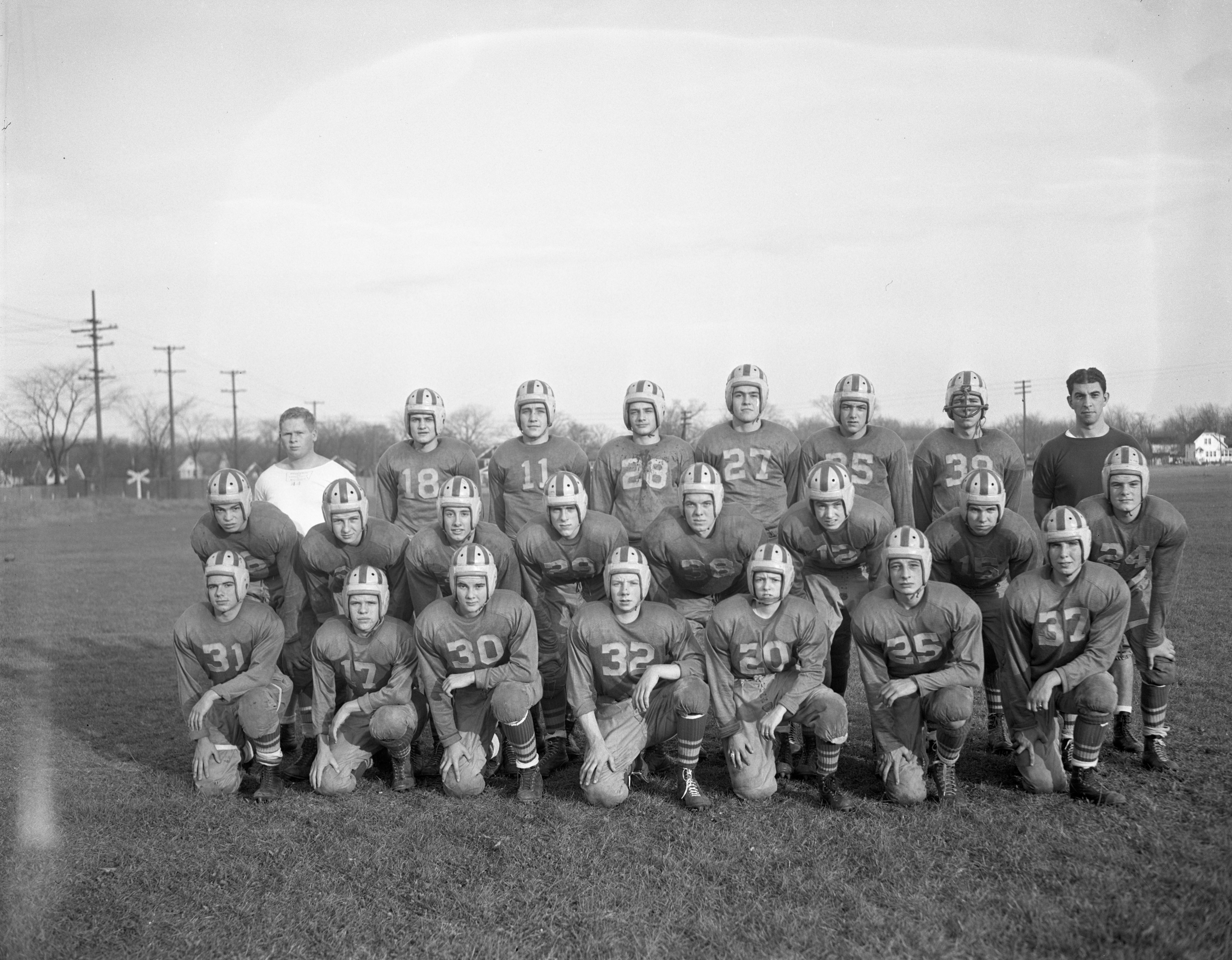 Coach Les Heidamos & The University High School Football Team, November 1945 image