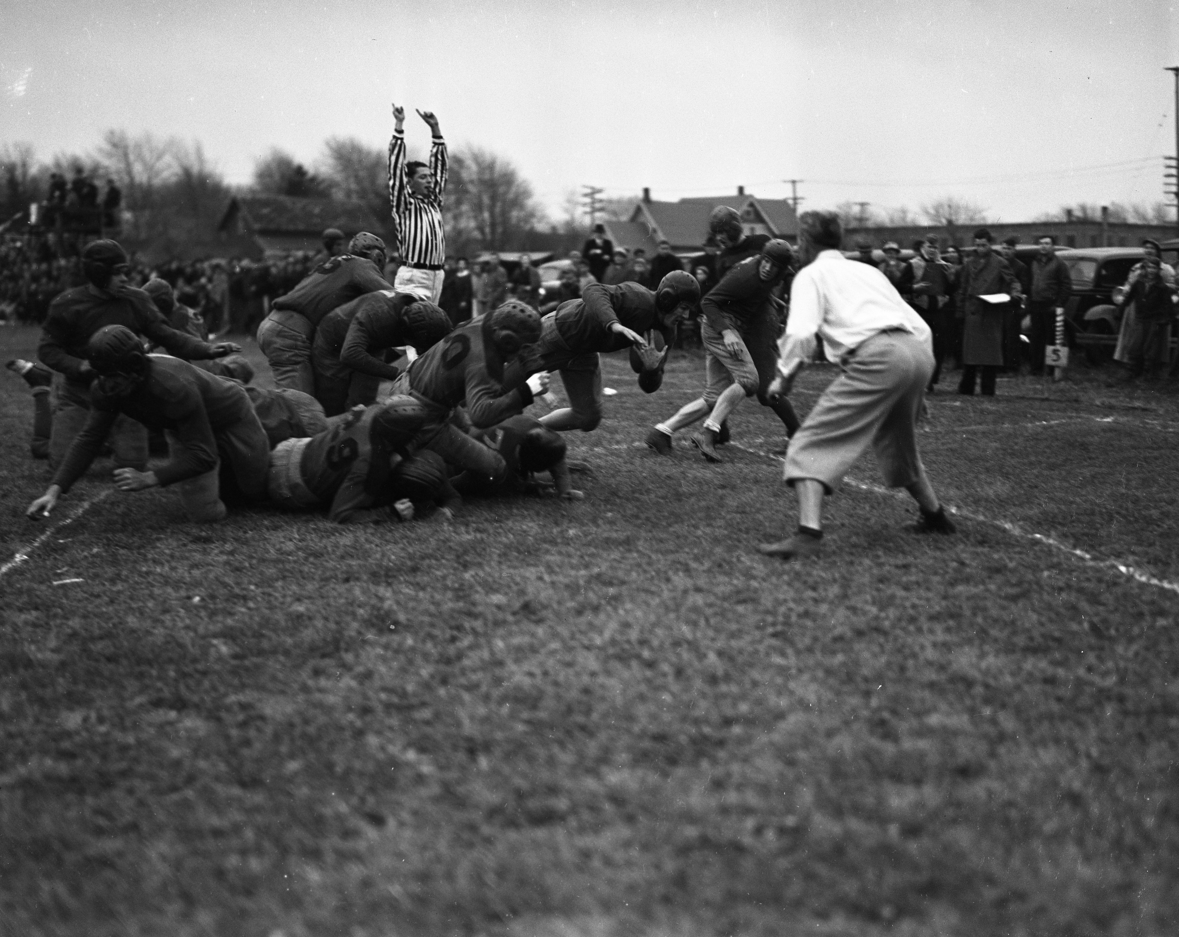 Wyman Davis Scores A Touchdown For Dundee High School vs. Milan High School, November 1937 image