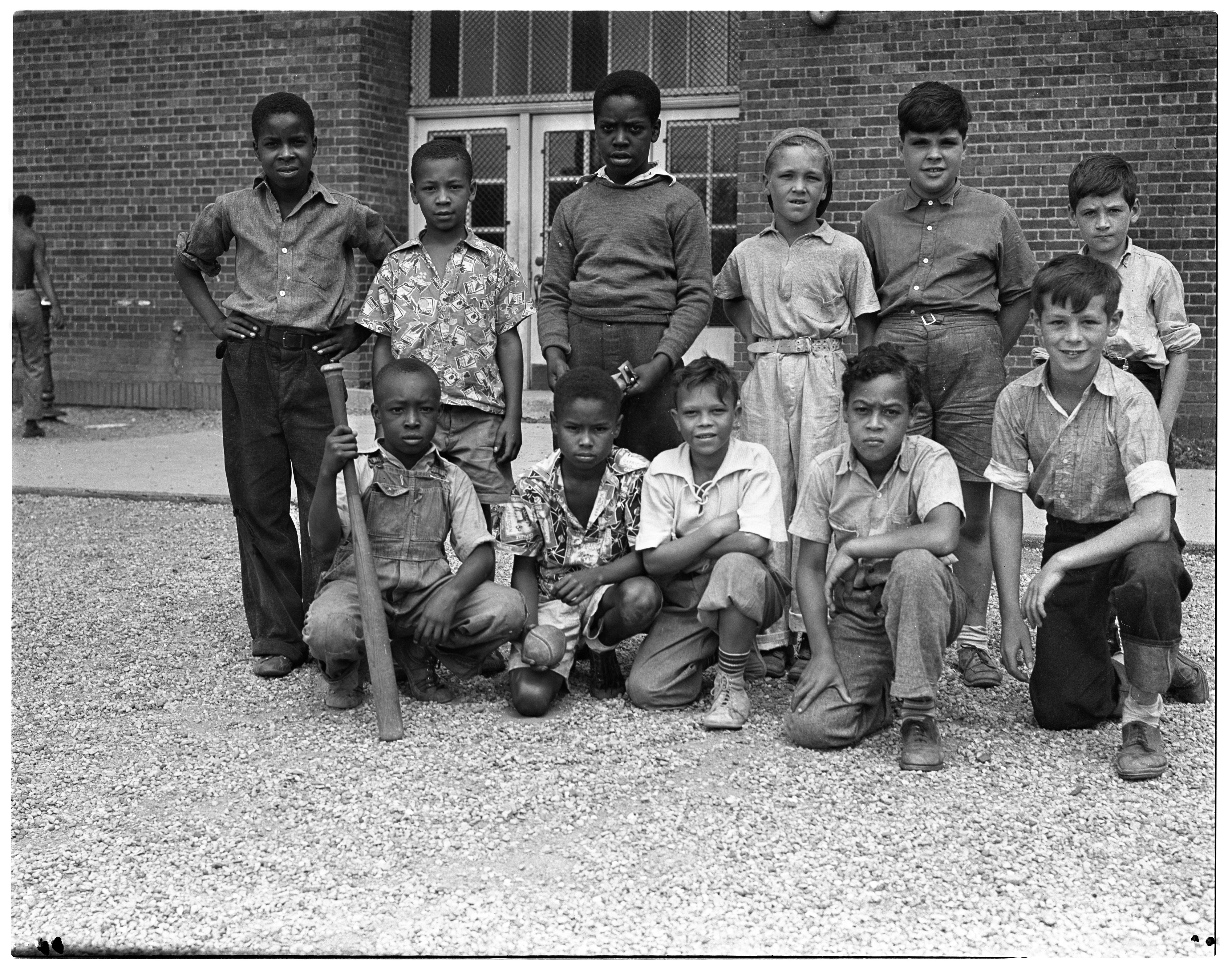 Young Baseball Players at Jones School, August 1939 image