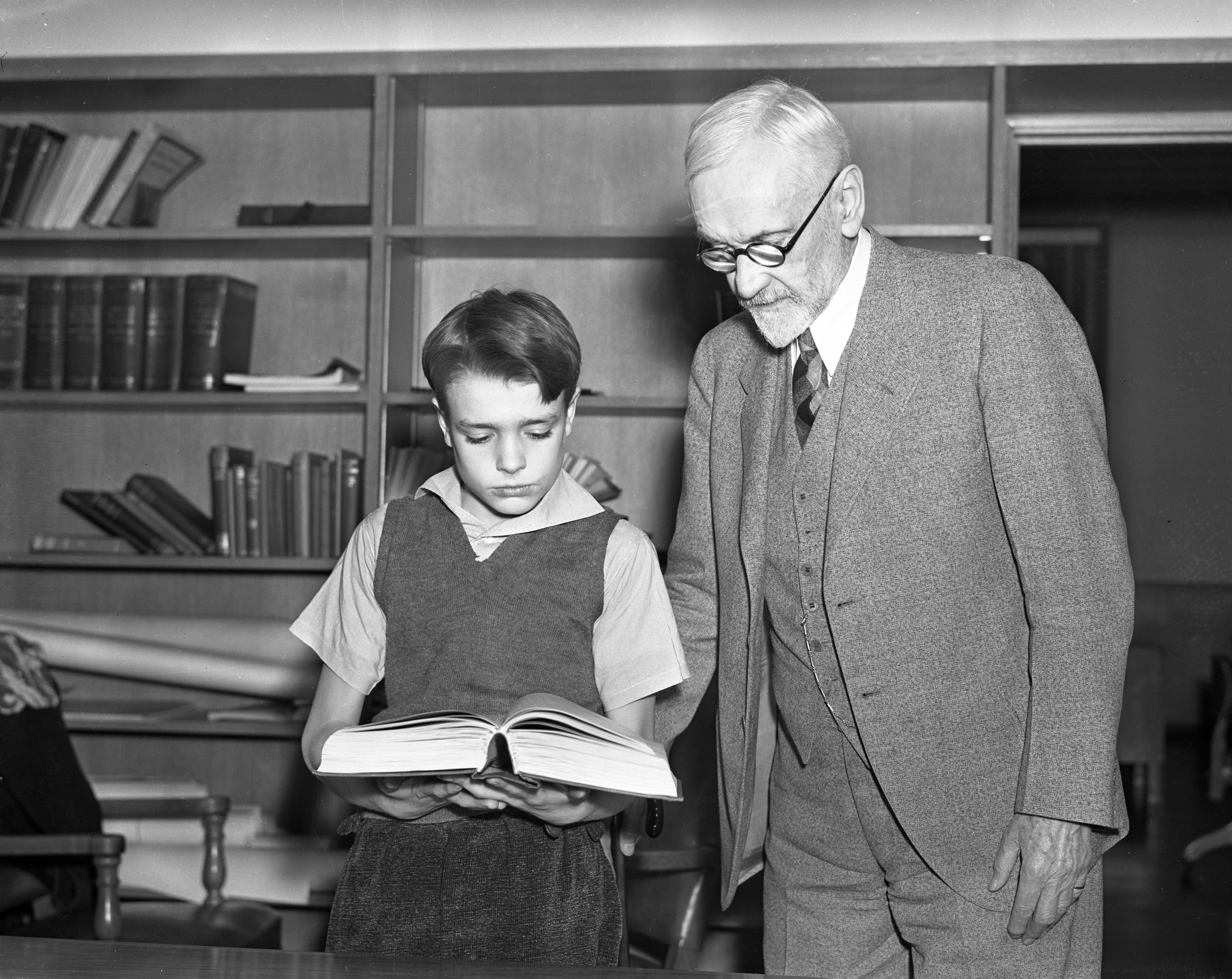 "Bobby and the Old Professor, from ""Inside and Atom,"" December 1937 image"