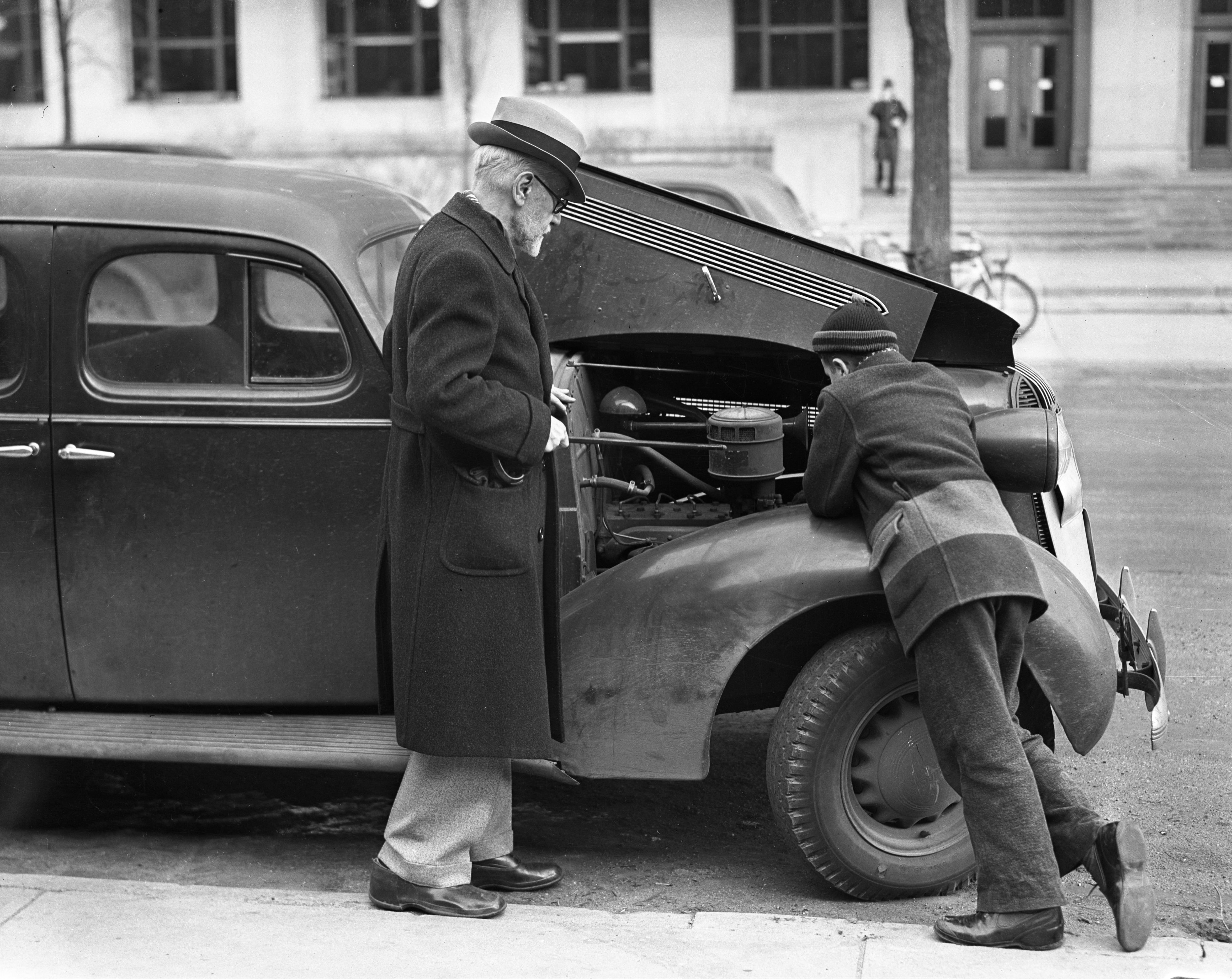Bobby and the Old Professor: Car Engine, January 1938 image