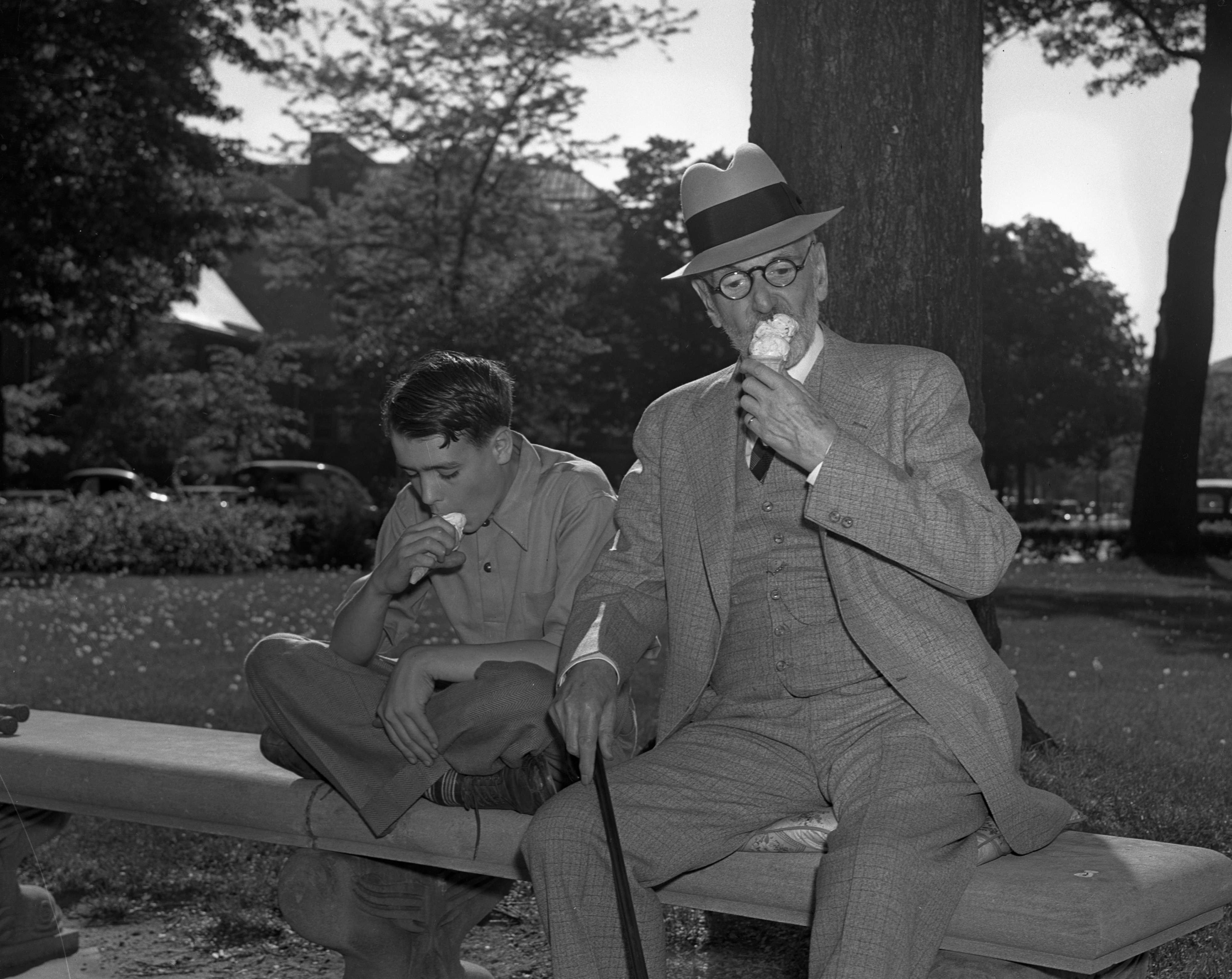 Bobby and the Old Professor with ice cream cones, June 1939 image