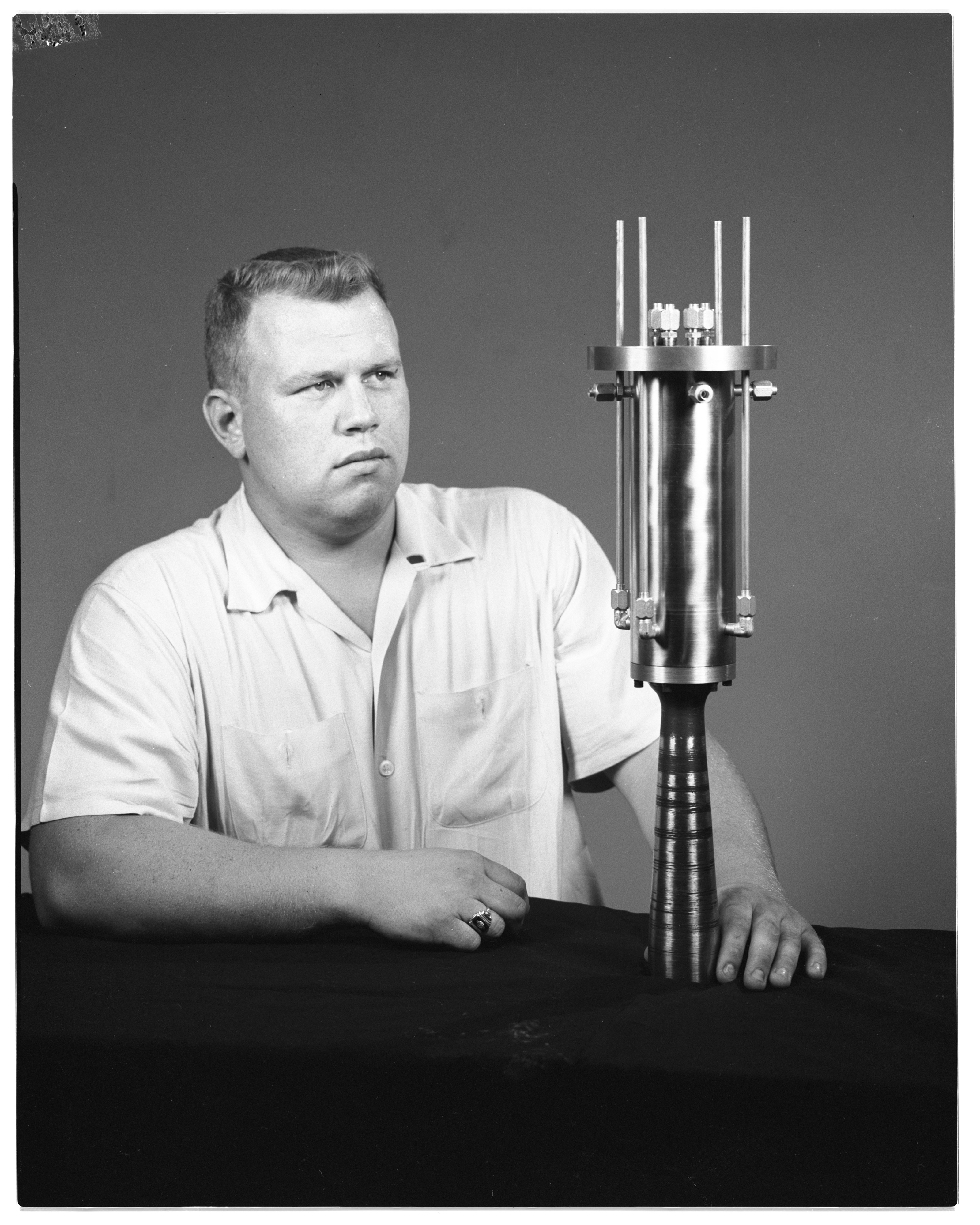 Jim Richards With Homemade Rocket, July 1960 image