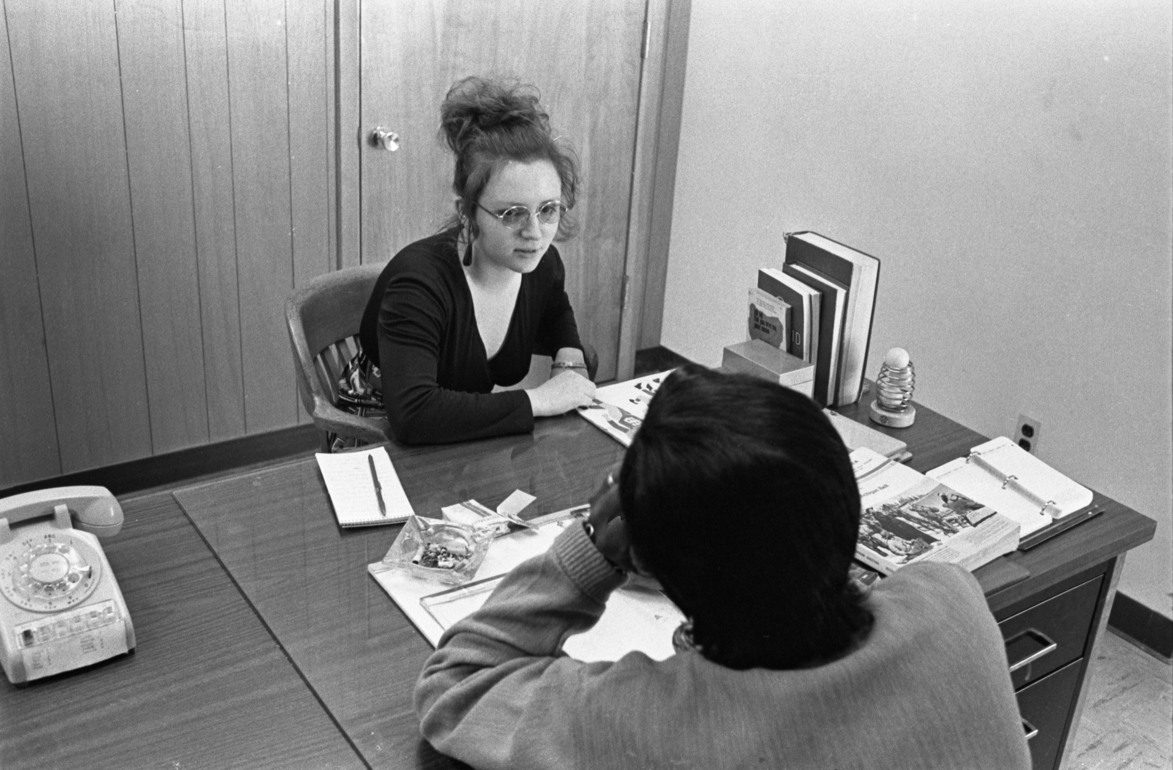 Judy Rush, Counselor At Octagon House, With Former Addict, April 9, 1972 image