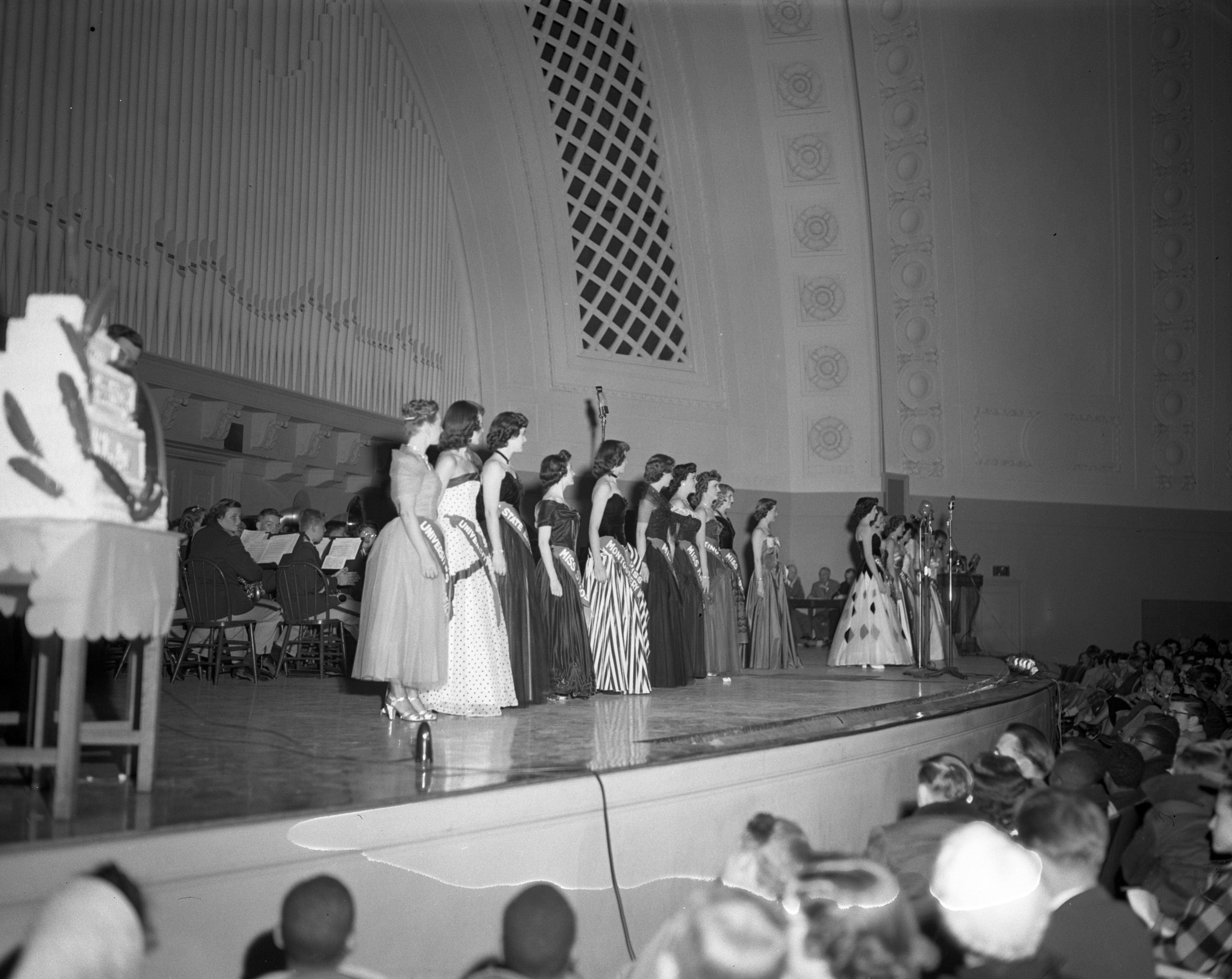 "Candidates in the ""Miss Red Feather"" contest, Community Chest Rally, Hill Auditorium, October 1950 image"