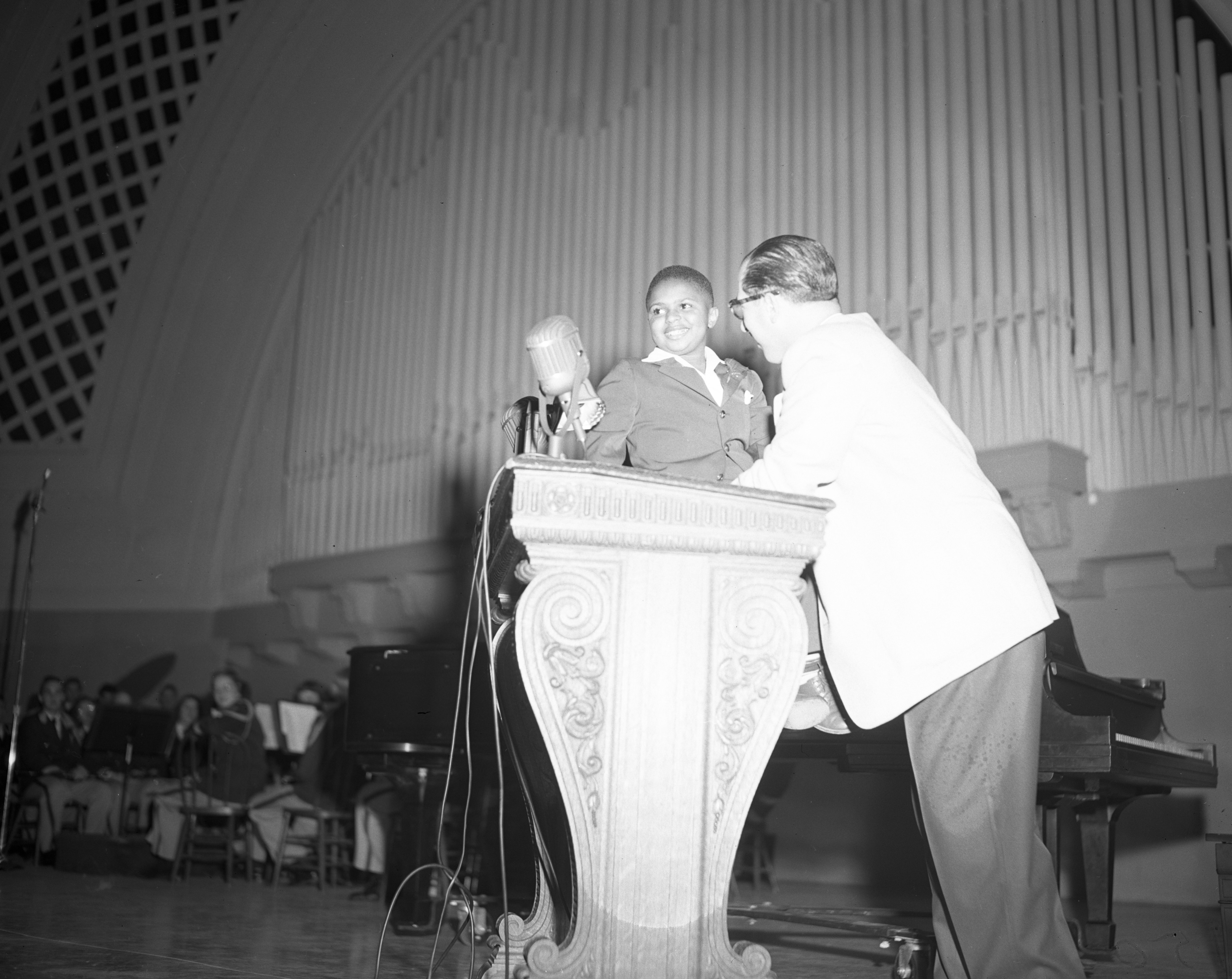 10-year-old Piano Prodigy Frankie (Sugar Chile) Robinson at the Community Chest Rally, Hill Auditorium, October 1950 image