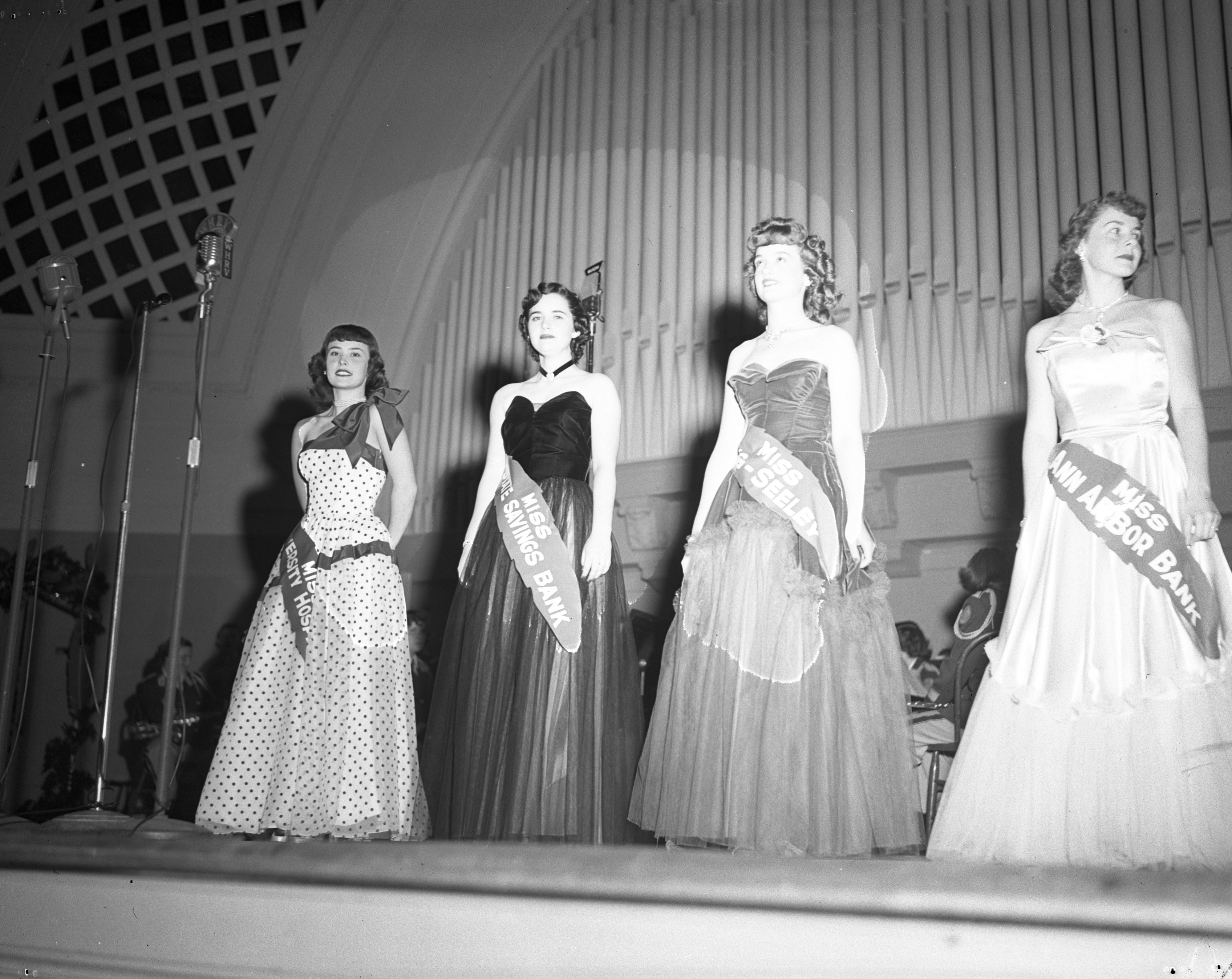 "Semi-finalists in the ""Miss Red Feather' contest, Community Chest Rally, Hill Auditorium, October 1950 image"