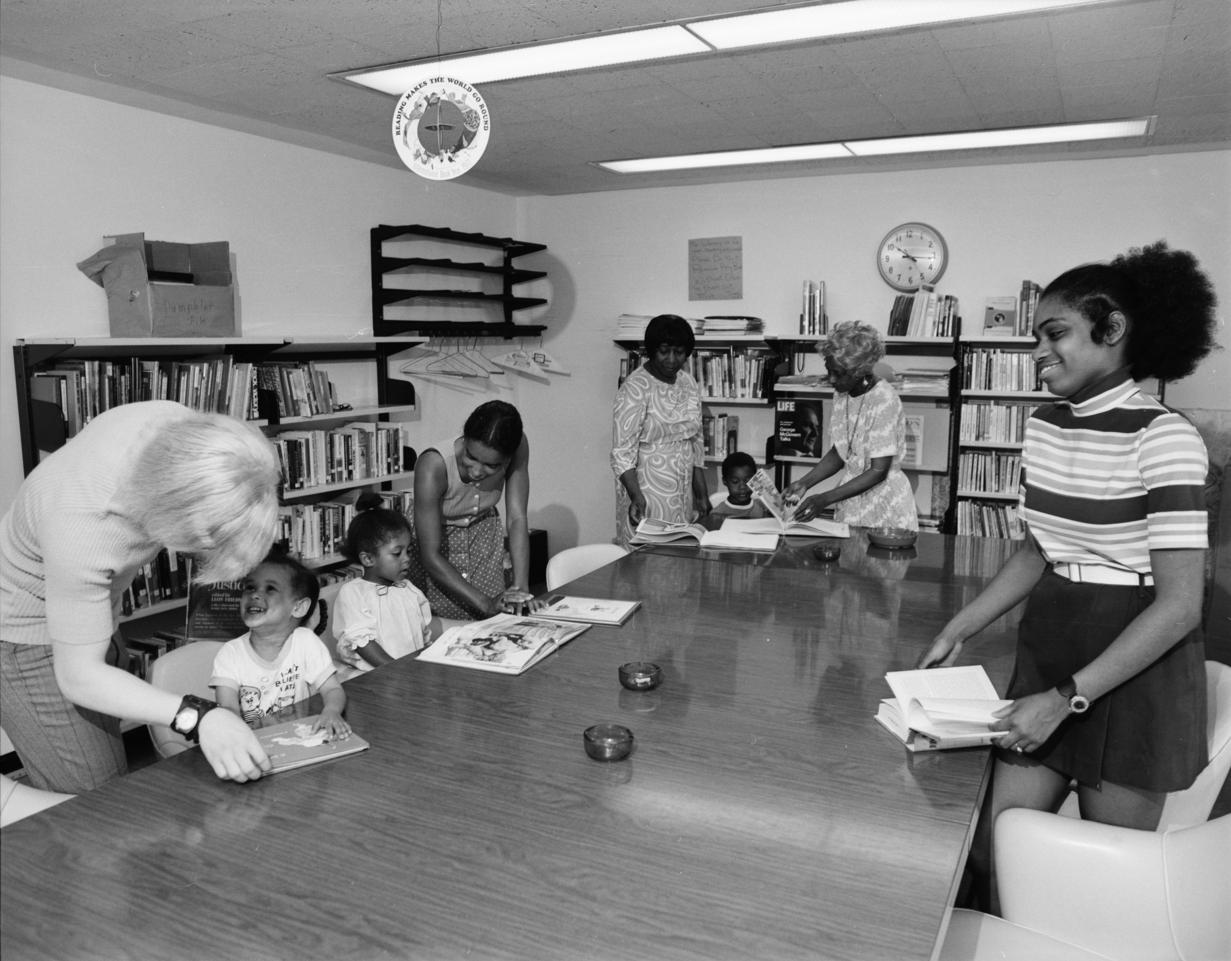 Children Get Help Reading at the Ann Arbor Community Center's Library, July 1972 image