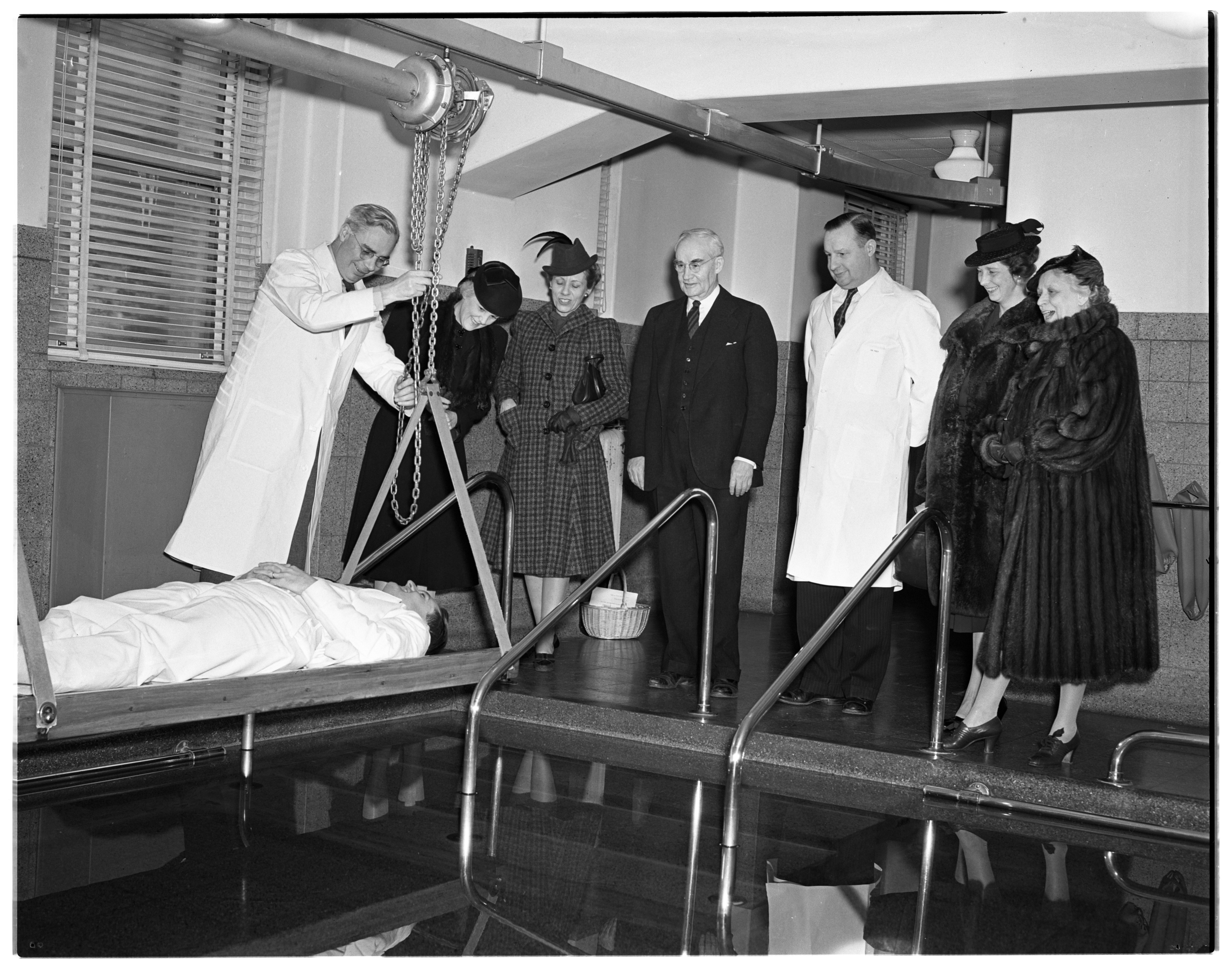 New Physiotherapy Pool for Polio Patients at University Hospital, January 1940 image