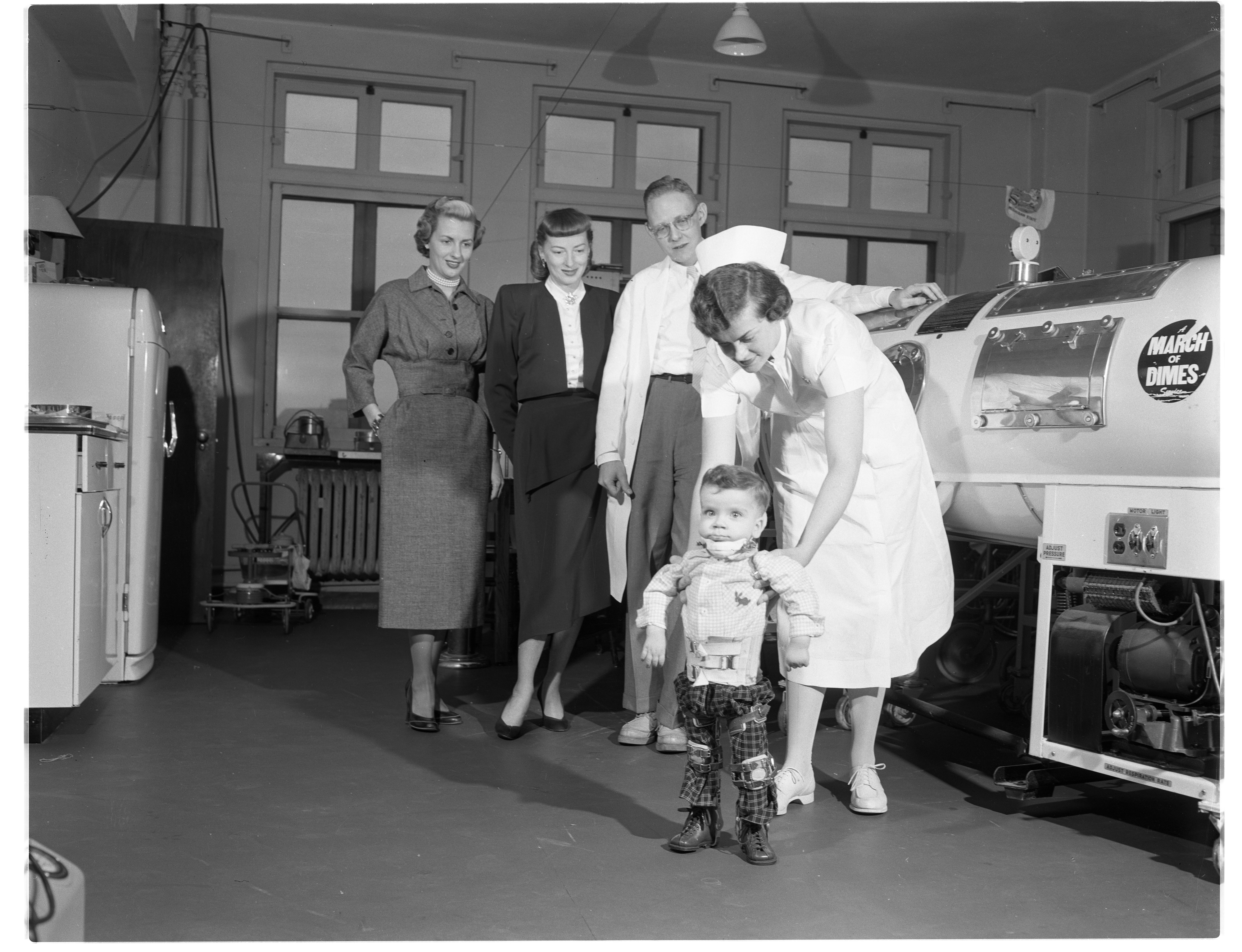 Bobby Snyder Receives Treatment for Polio at University Hospital, December 1953 image