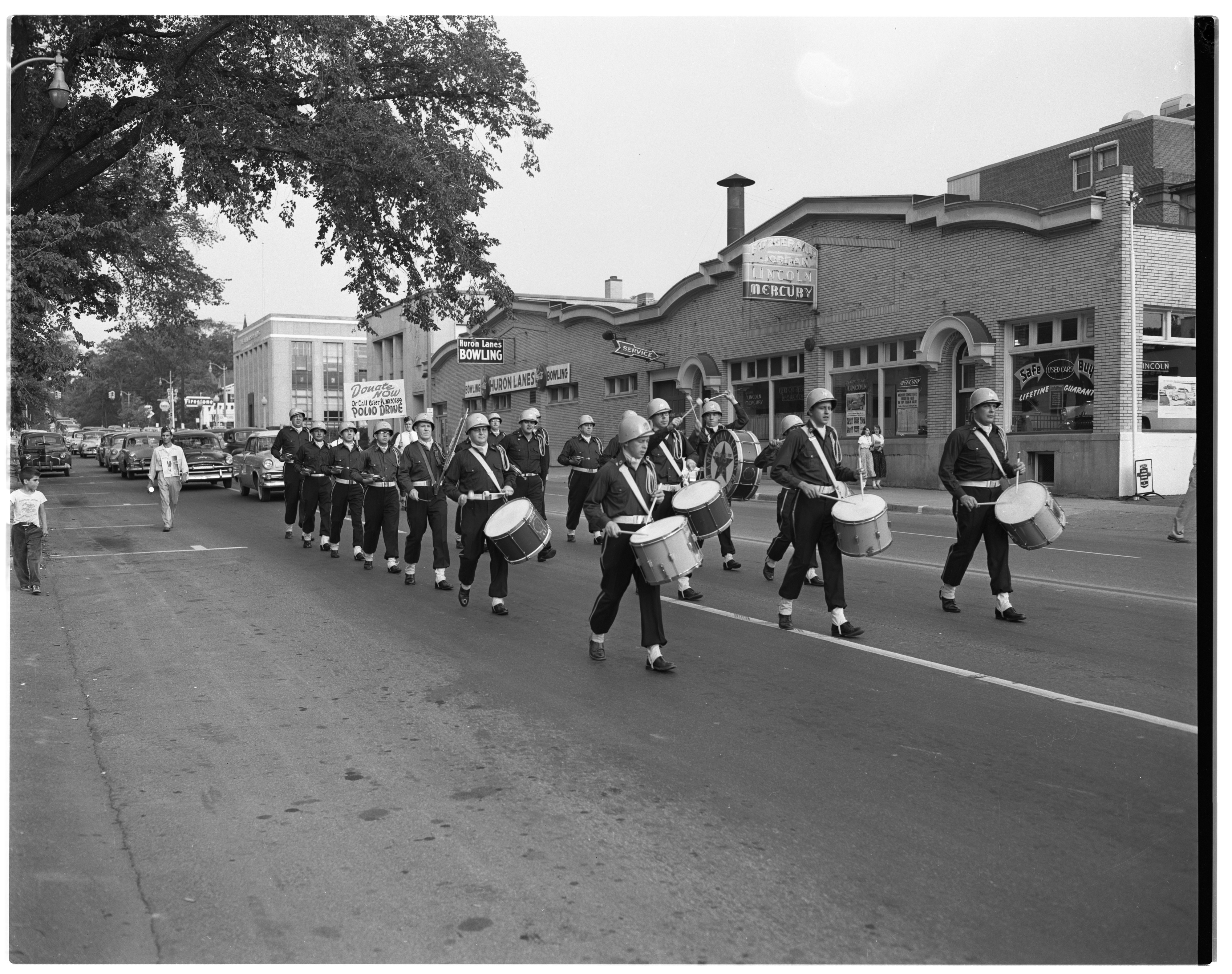 Polio Drive: American Legion Drum and Bugle Corps parade, August 1954 image