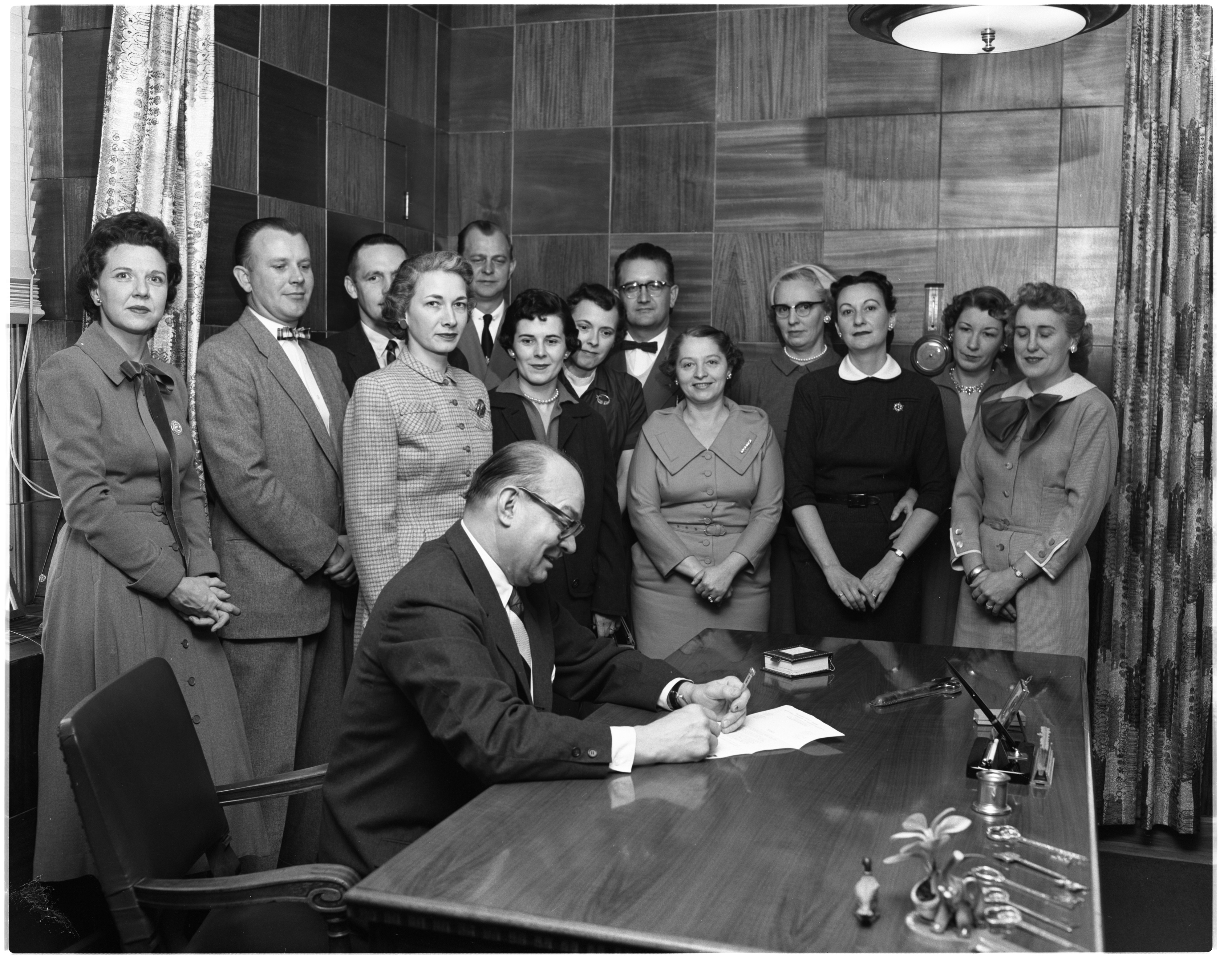 Ann Arbor Mayor William E. Brown makes January official polio month, with members March of Dimes drive committee, January 1956 image