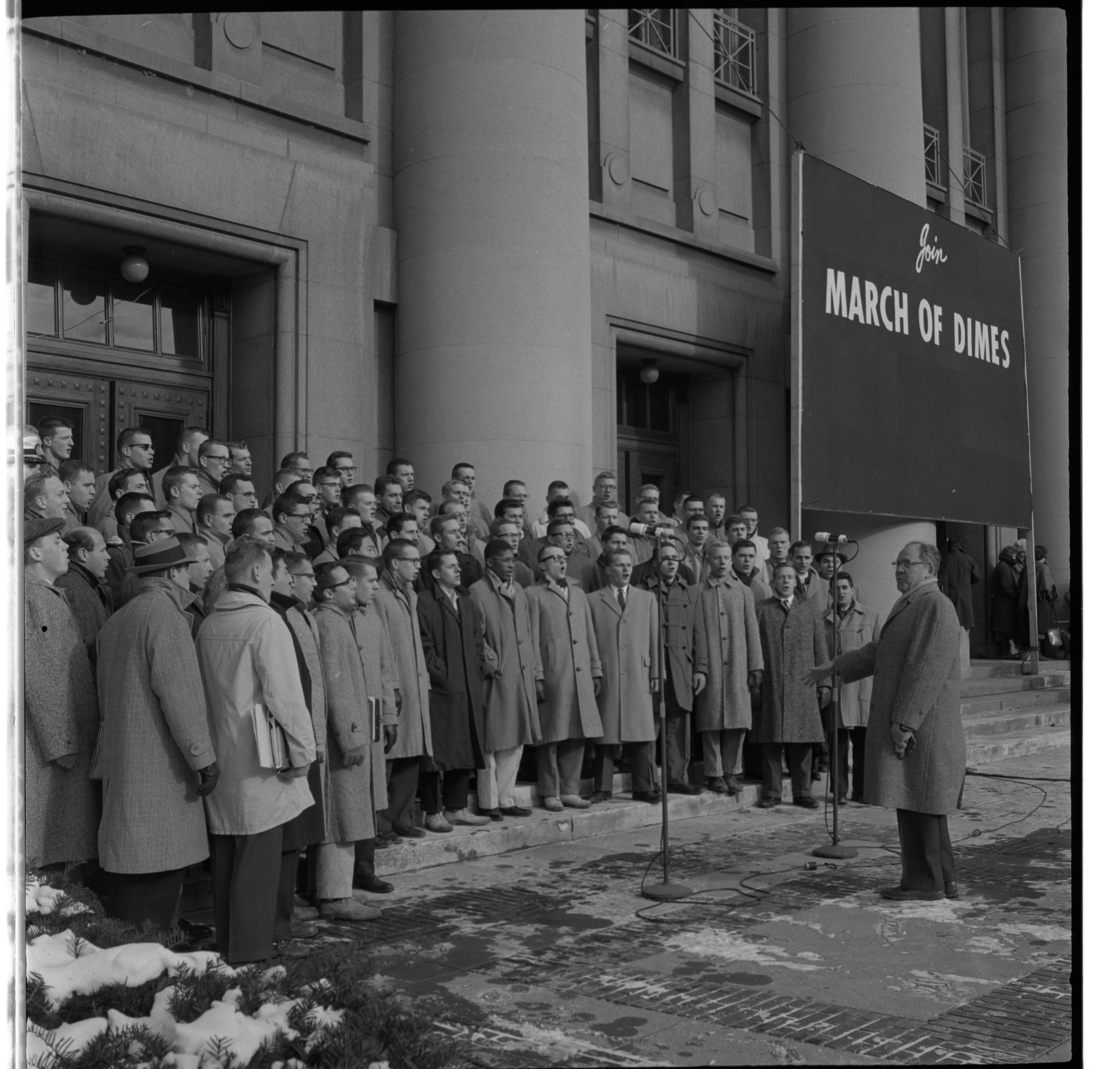 University of Michigan Men's Glee Club Entertains Crowd at March of Dimes Kickoff Variety Show at Hill Auditorium, January 1959 image