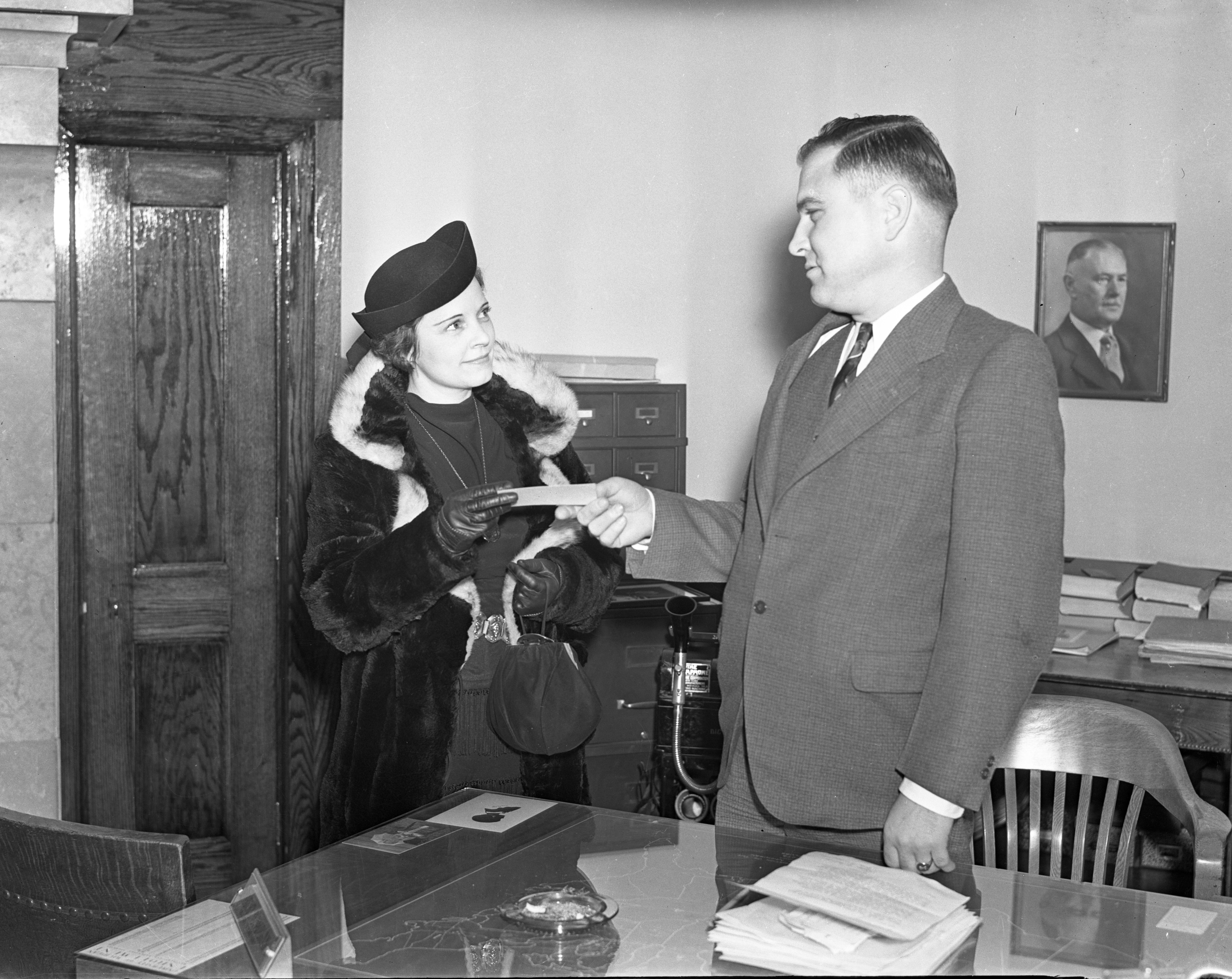 Selling a Ticket for the President's Ball, January 1938 image