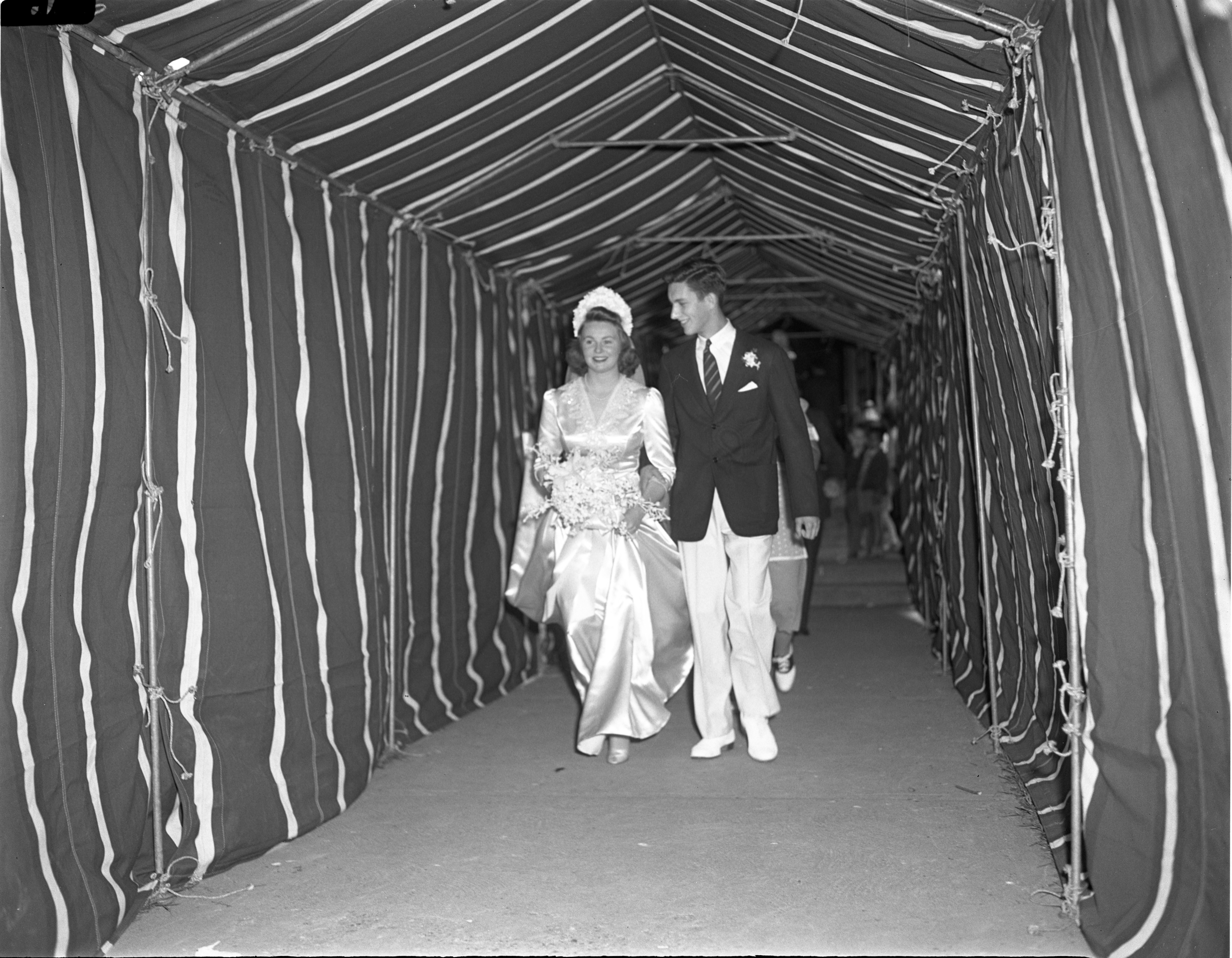 Anita & Tom Peirsol Leave St. Andrew's Church After Their Wedding - May 27, 1942 image