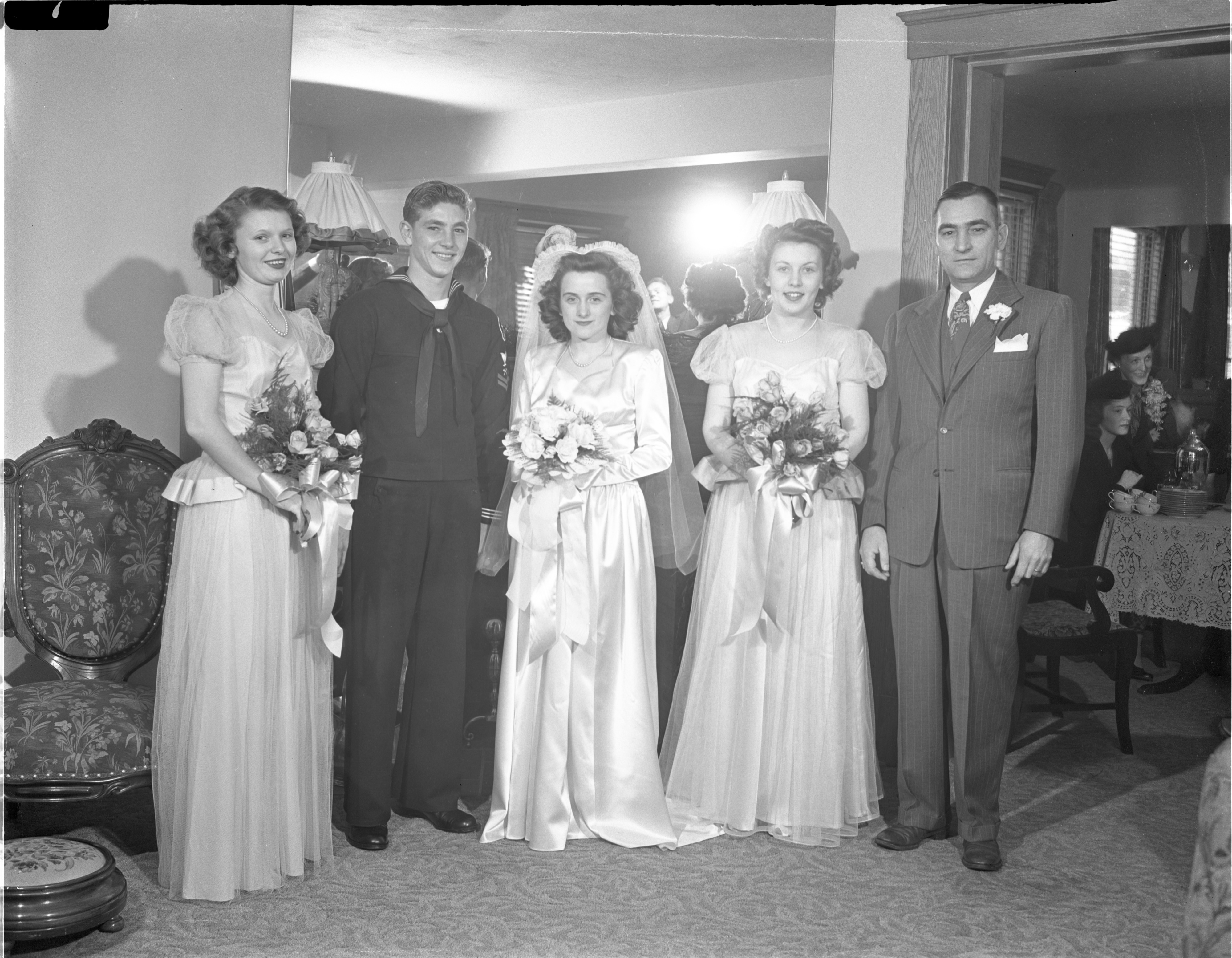Walter & Patricia Bartell With Their Wedding Party - December 15, 1945 image
