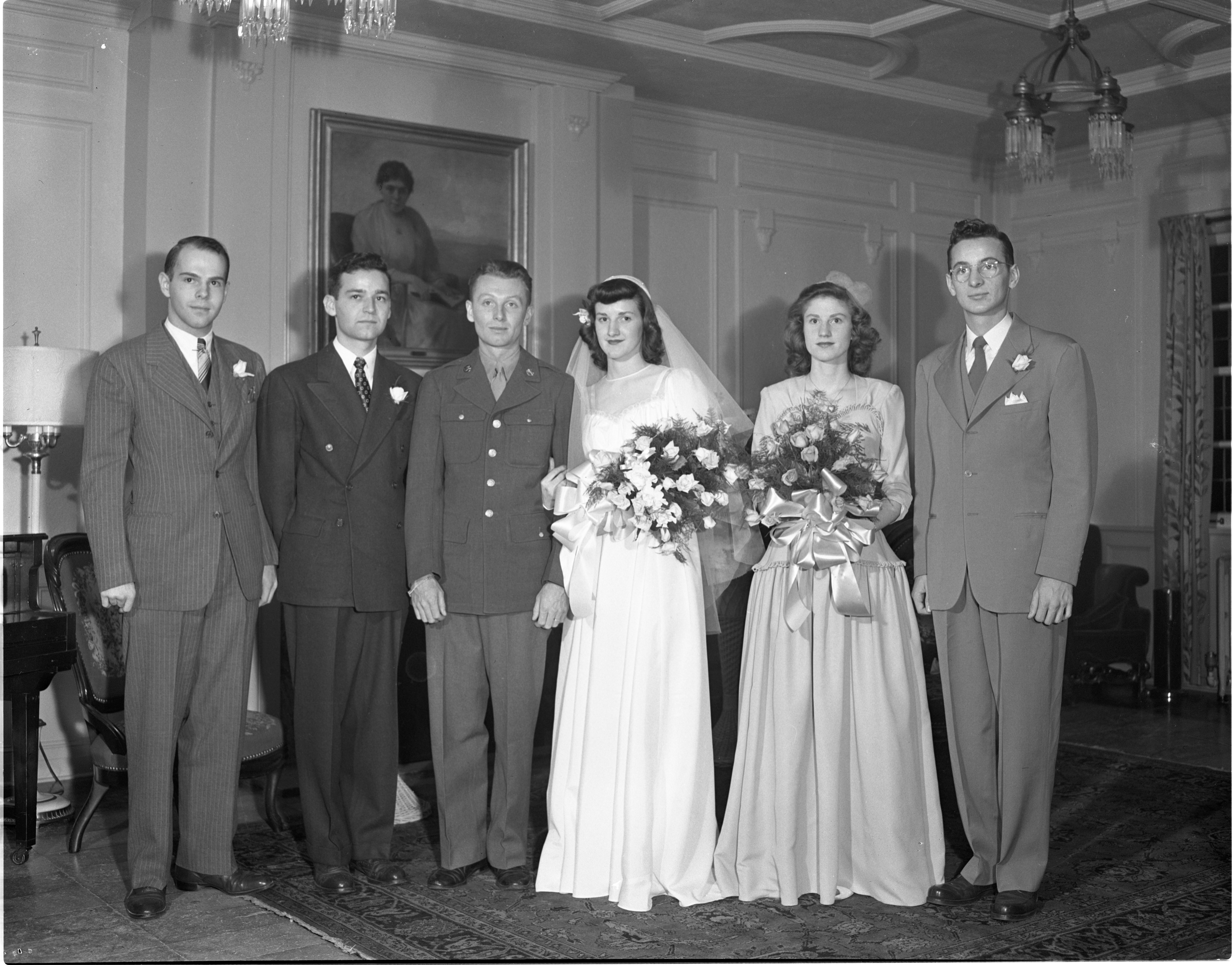 The Wedding Party of Wilbur & Patricia Wood - November 11, 1943 image
