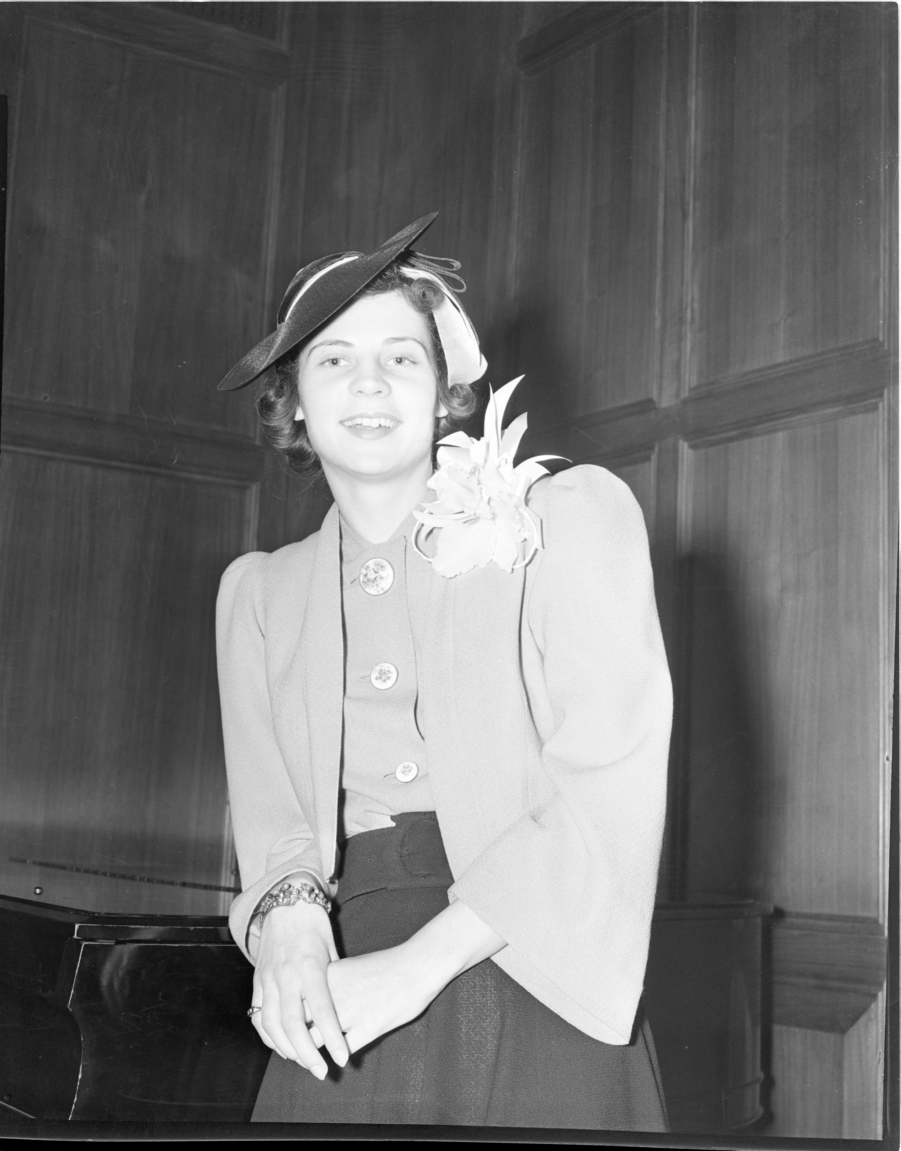Mrs. Lawrence Ouimet, The Former Magdalene Collins, At Her Wedding Reception, January 1939 image
