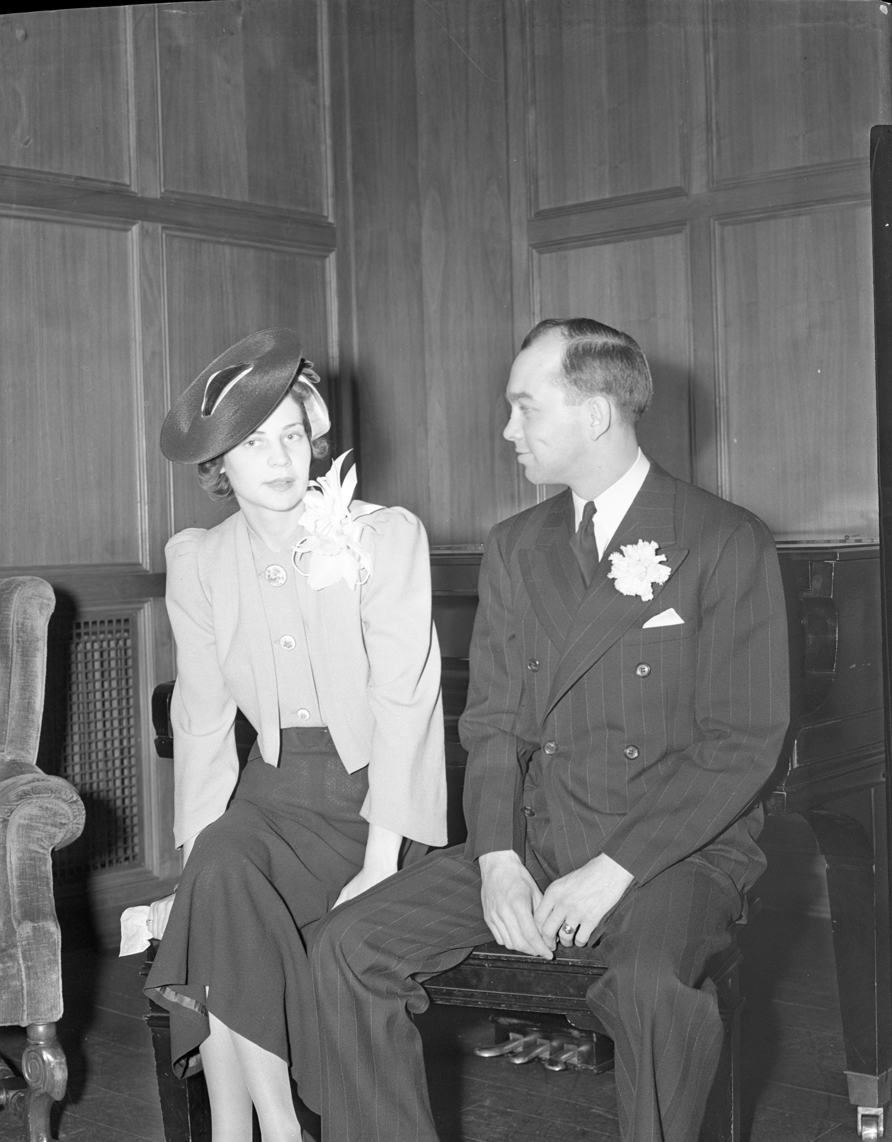 Lawrence & Magdalene Ouimet At Their Wedding Reception, January 1939 image
