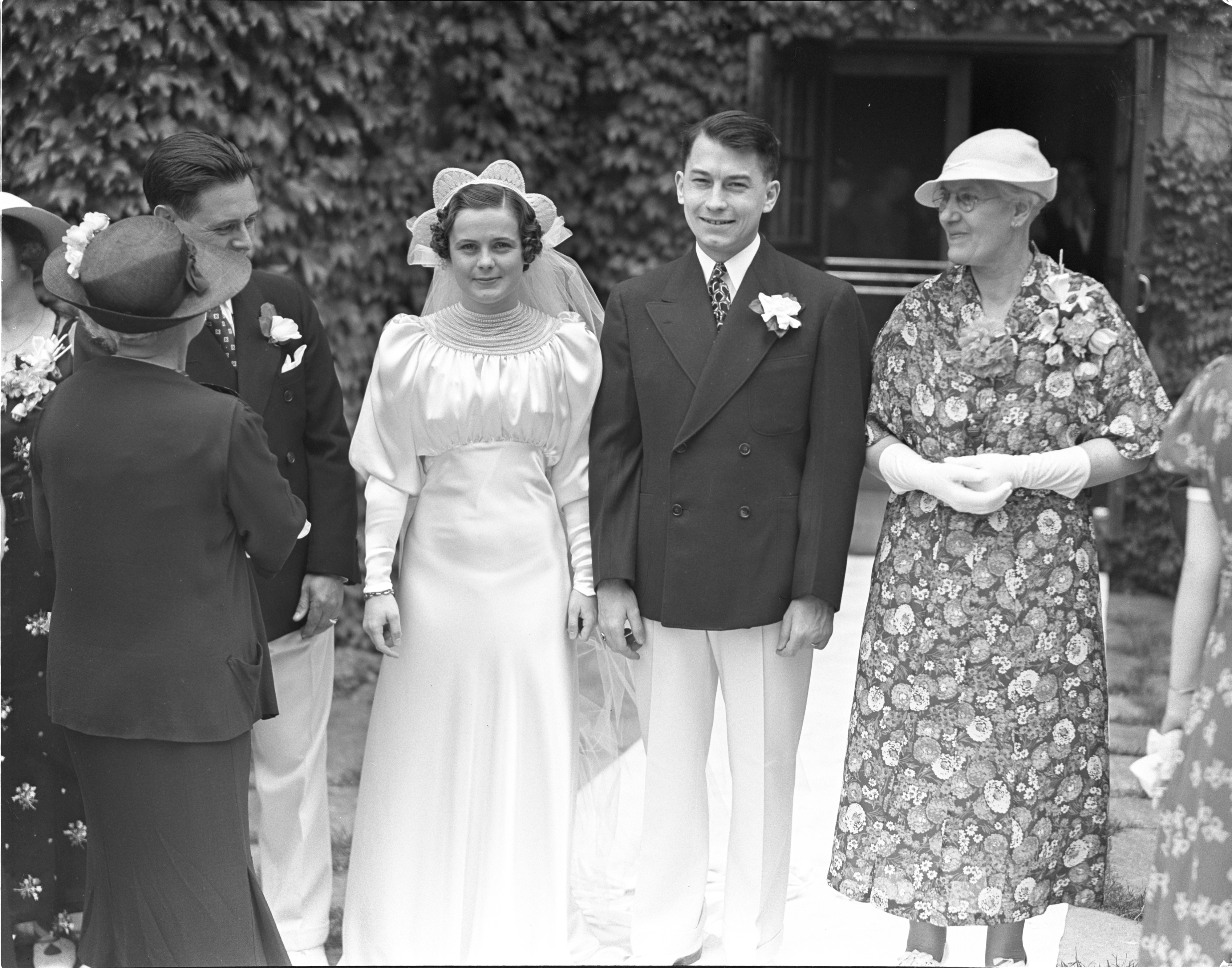 Just Married In The Garden Of The Michigan League, Virginia & William Umbach - June 16, 1937 image