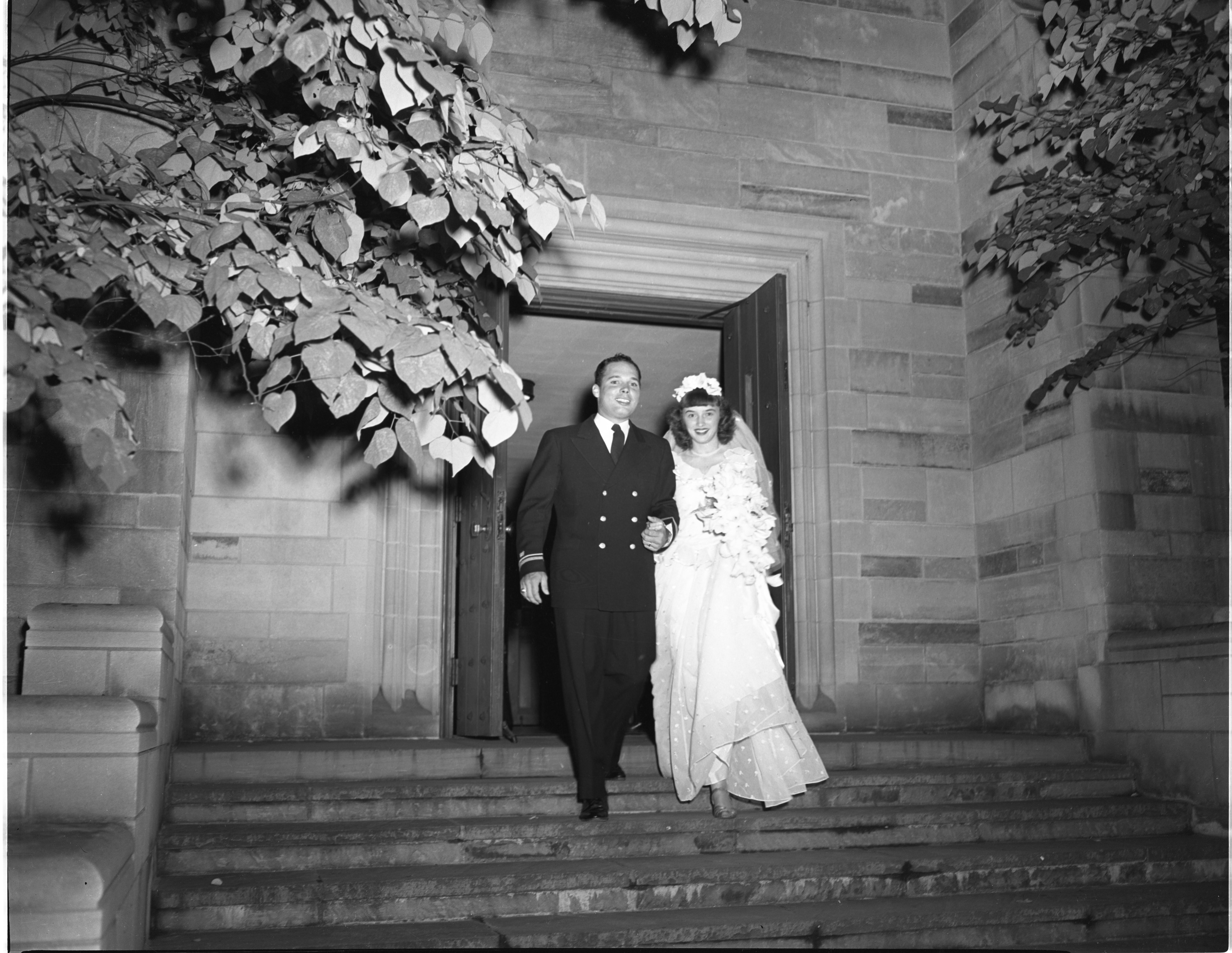 Newly Married Dorothy & Alvin Bek Leaving First Presbyterian Church - September 7, 1946 image