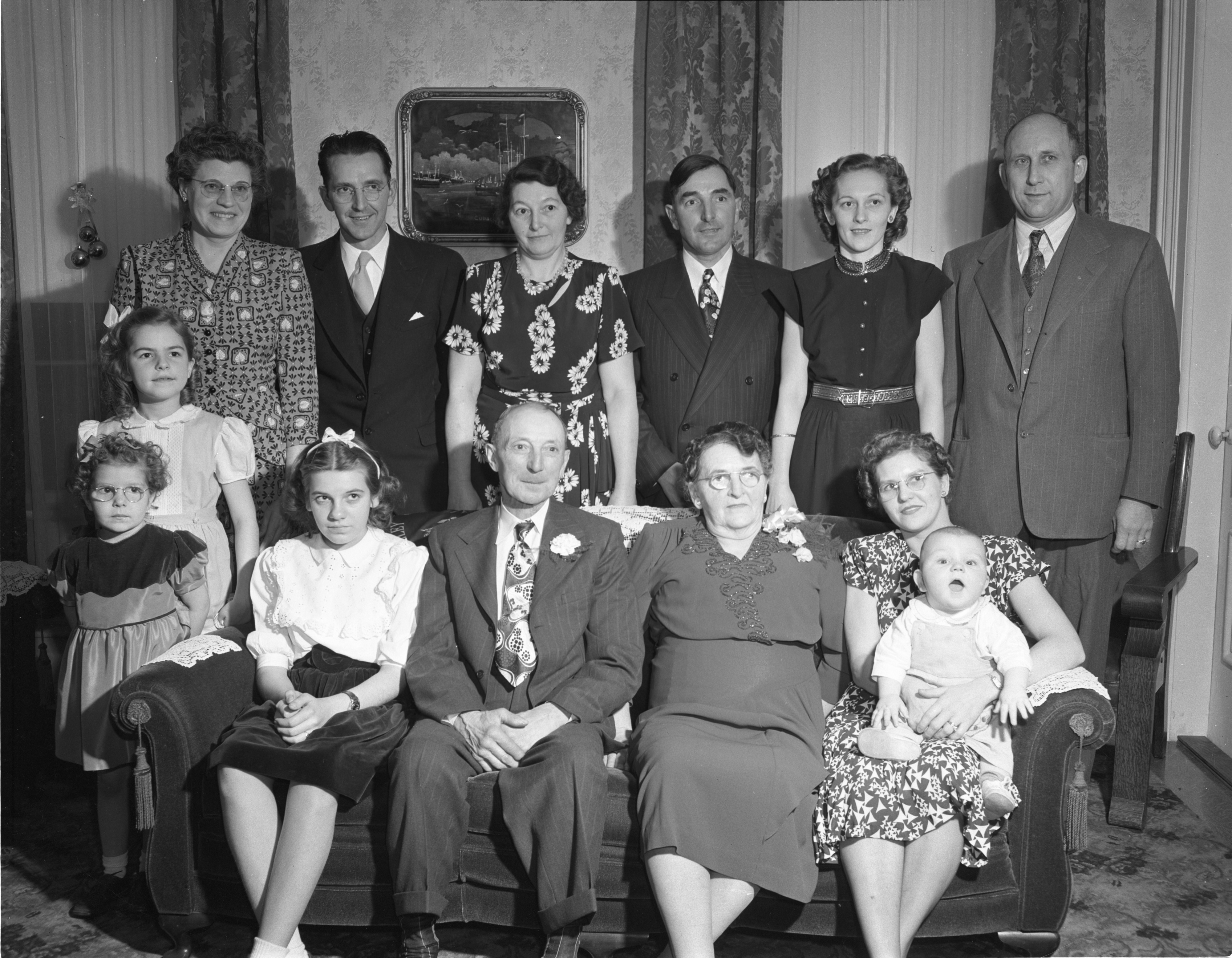 Mr. and Mrs. Dewey Farley & Family Celebrate Their 50th Wedding Anniversary, December 1948 image