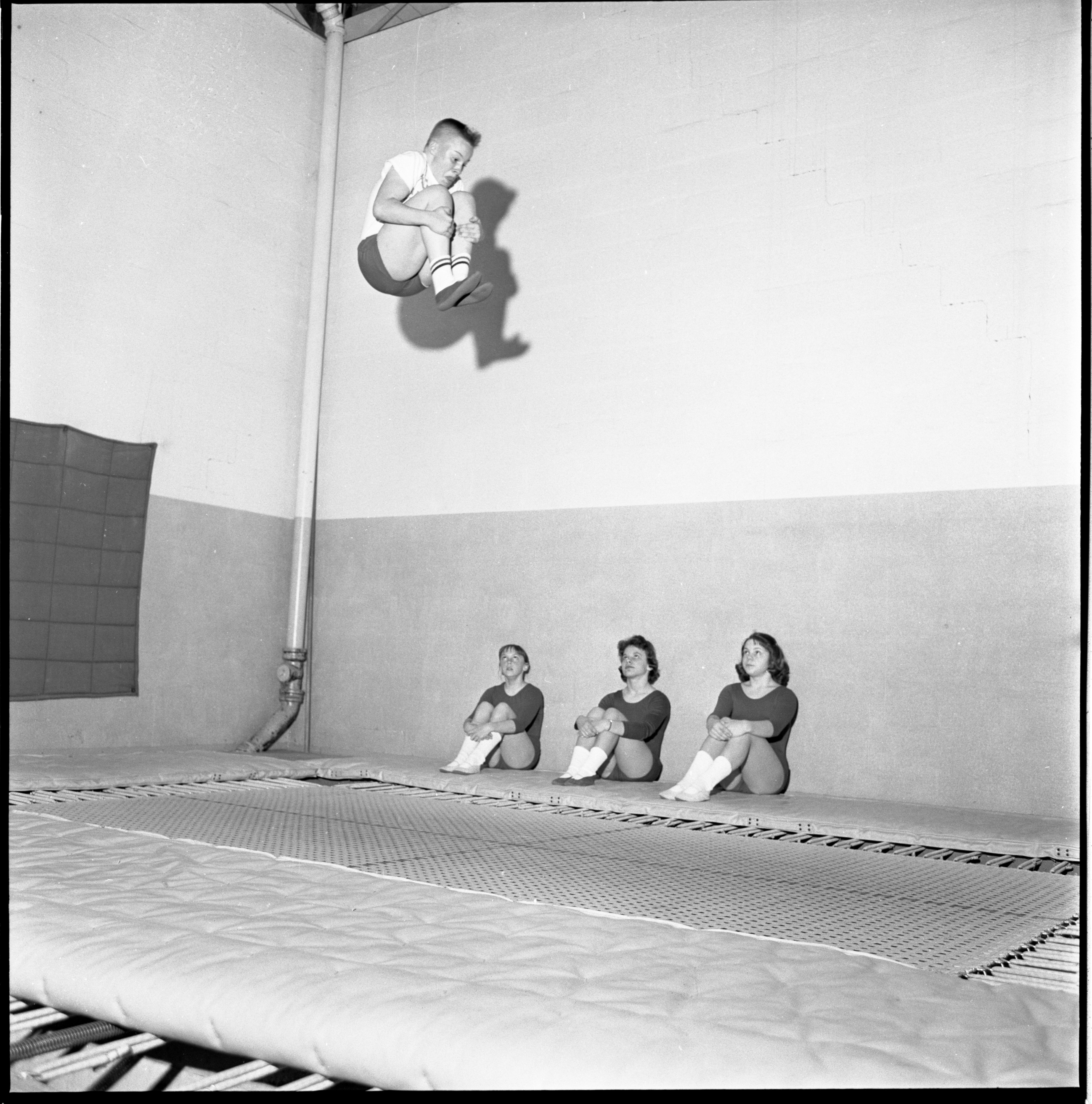 George Huntzicker Practices His Trampoline Championships Routine, April 1961 image