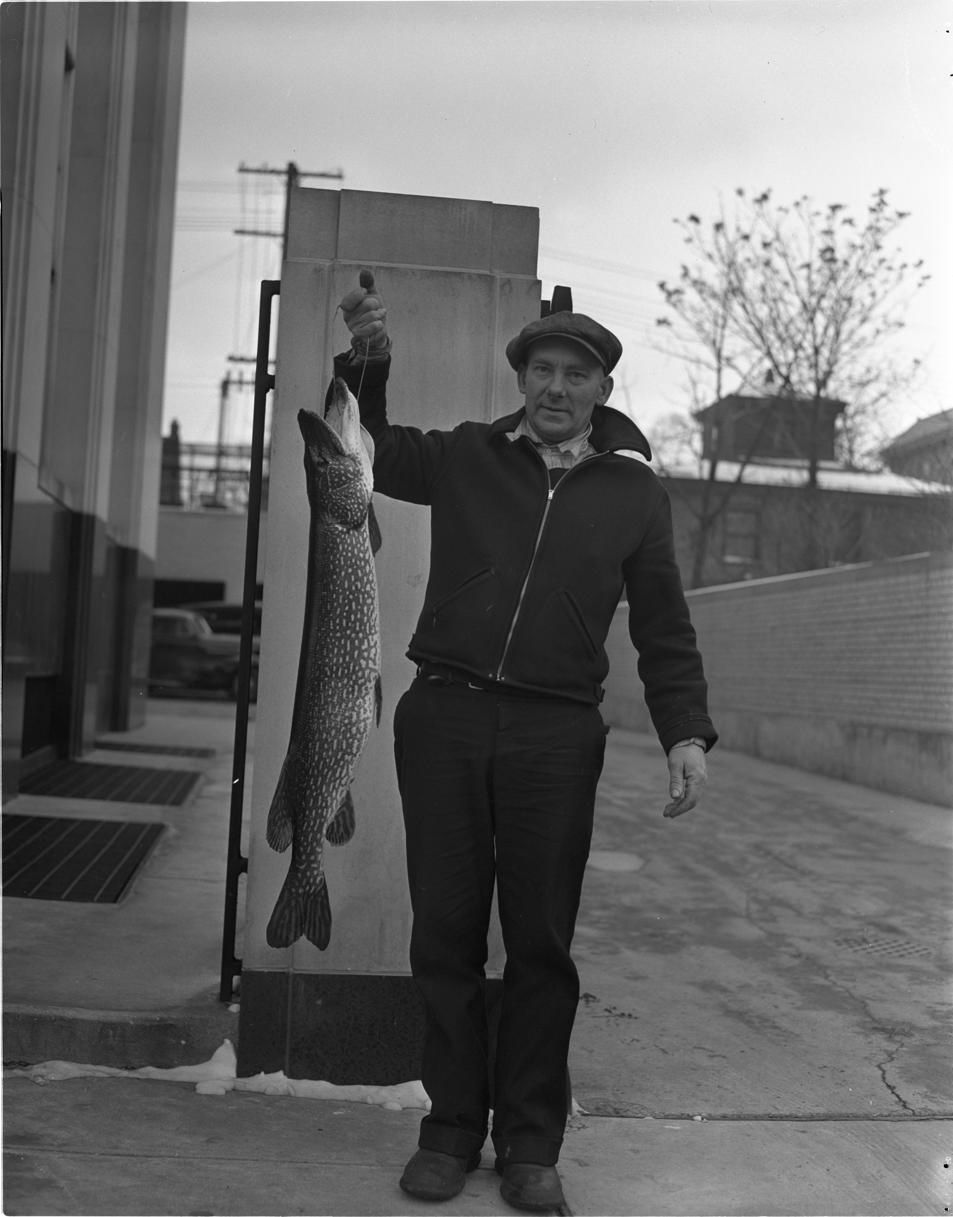Emerson Shall Displays The 17 Pound Pike He Speared In Base Lake, January 1941 image