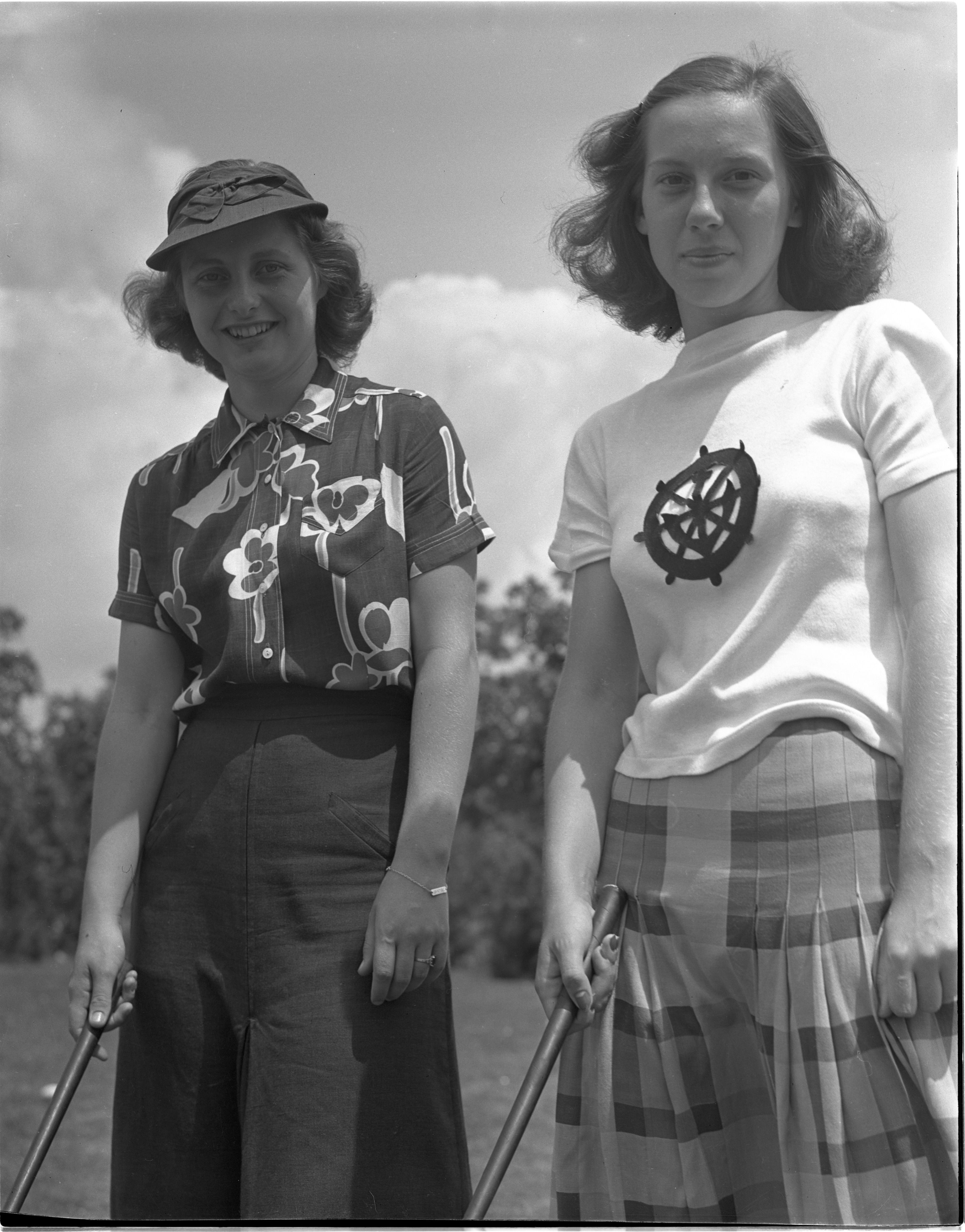 Patty Hadley & Peggy Whitker In The Women's City Golf Tournament Qualifying Rounds At Barton Hills, July 1939 image